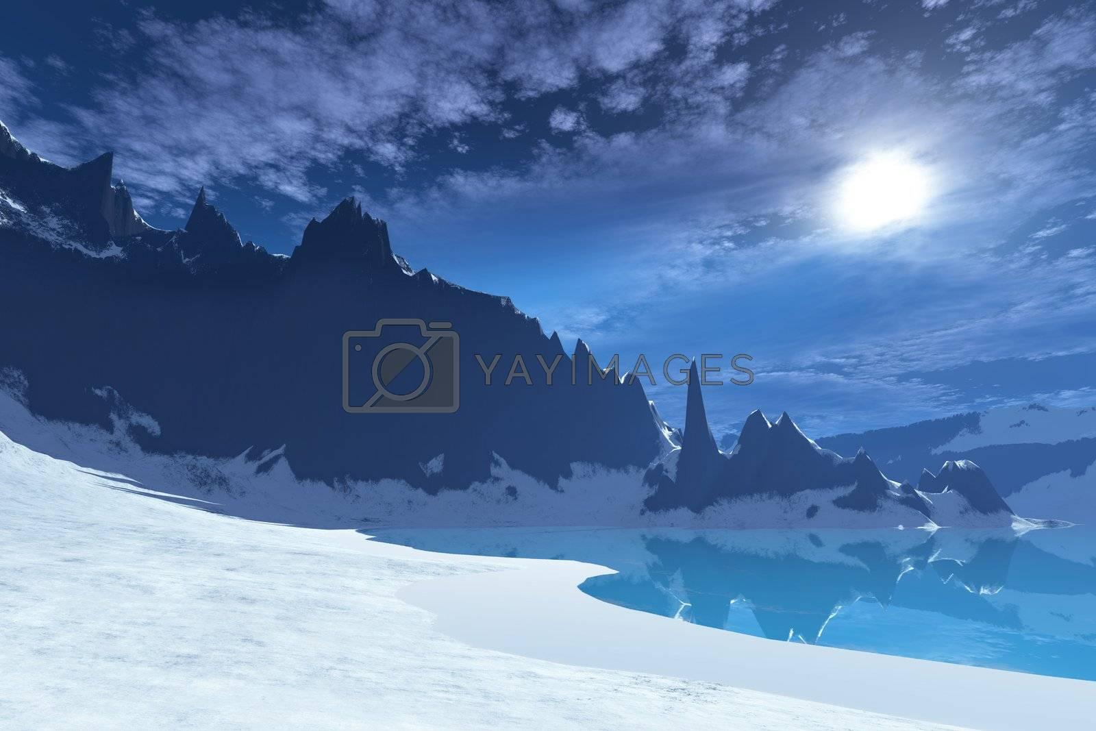 A cold wintery seascape on a calm night.