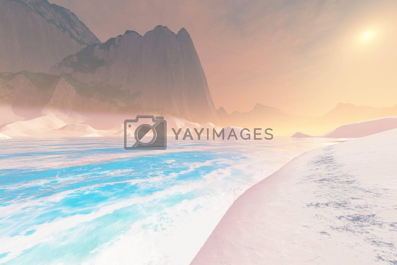 The sandy beach of a seascape.