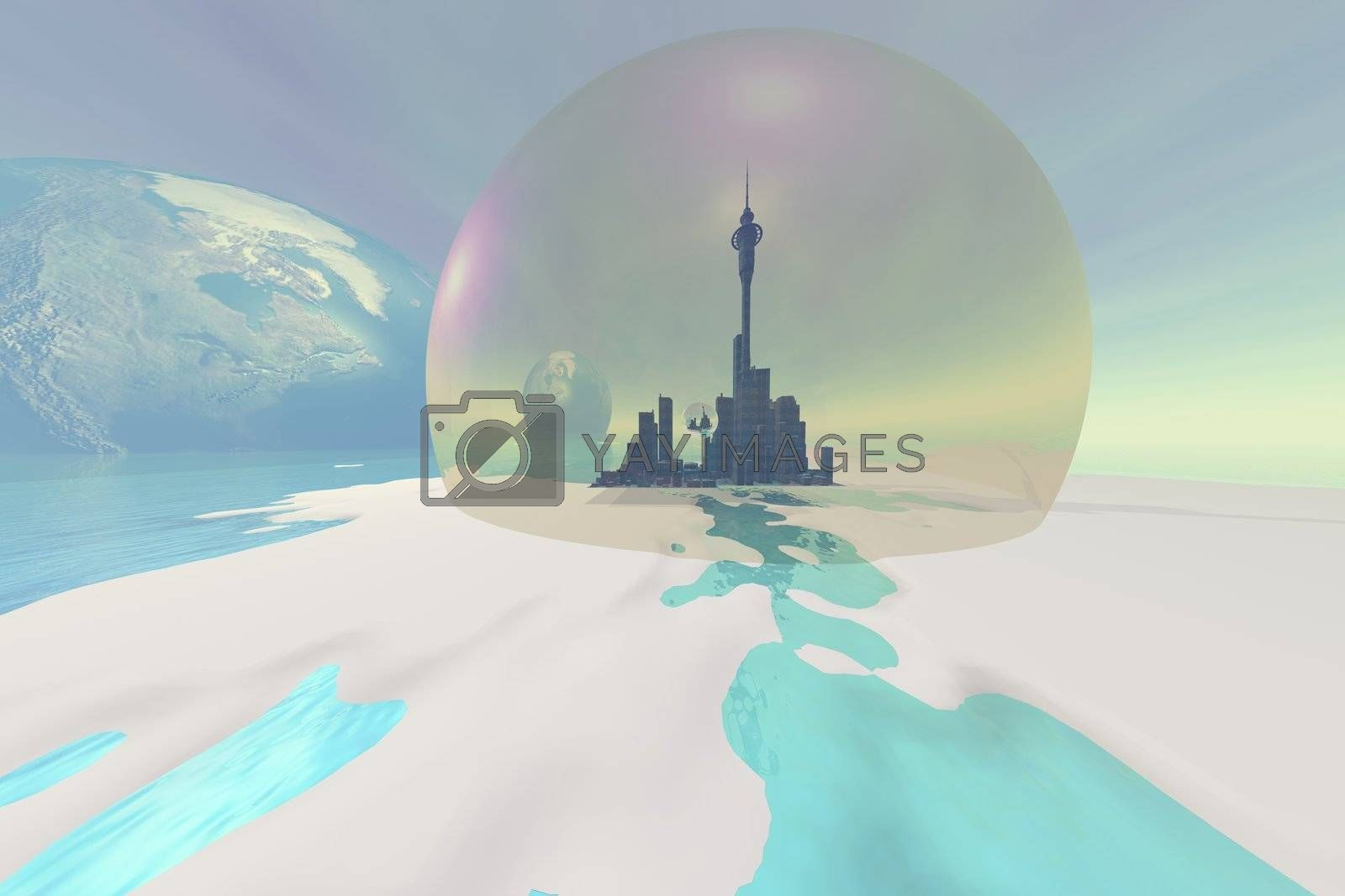 Terraforming the moon with a new city under the protection of a dome.