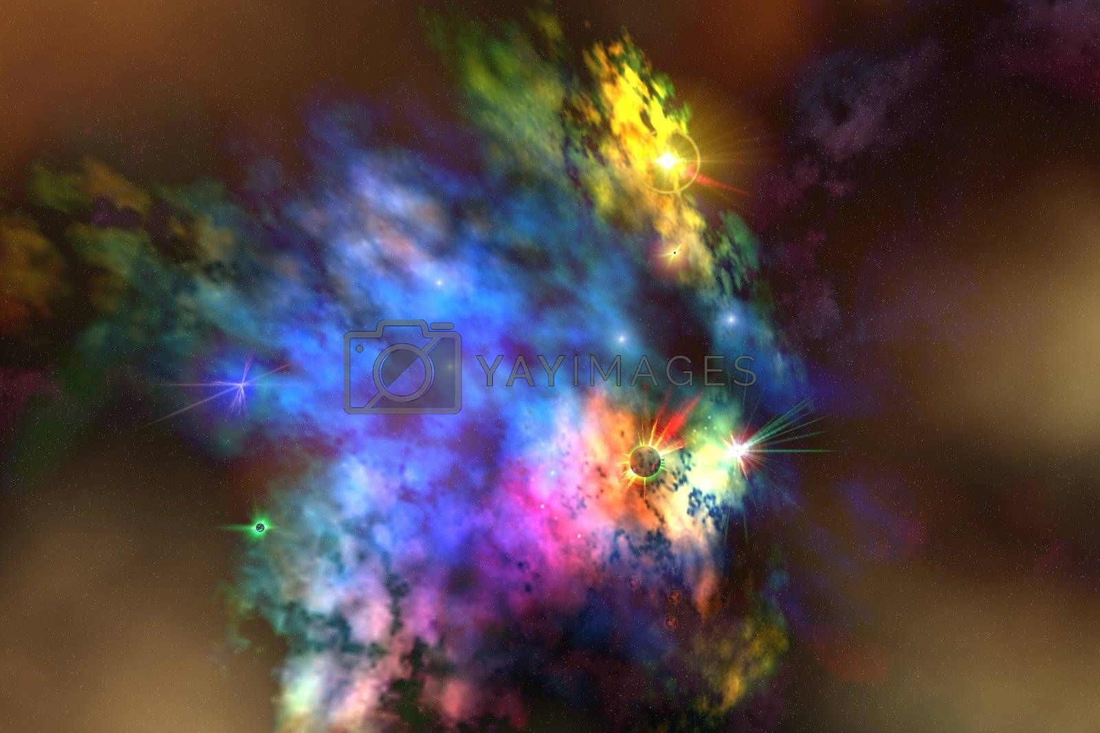 A colorful nebula in the universe.