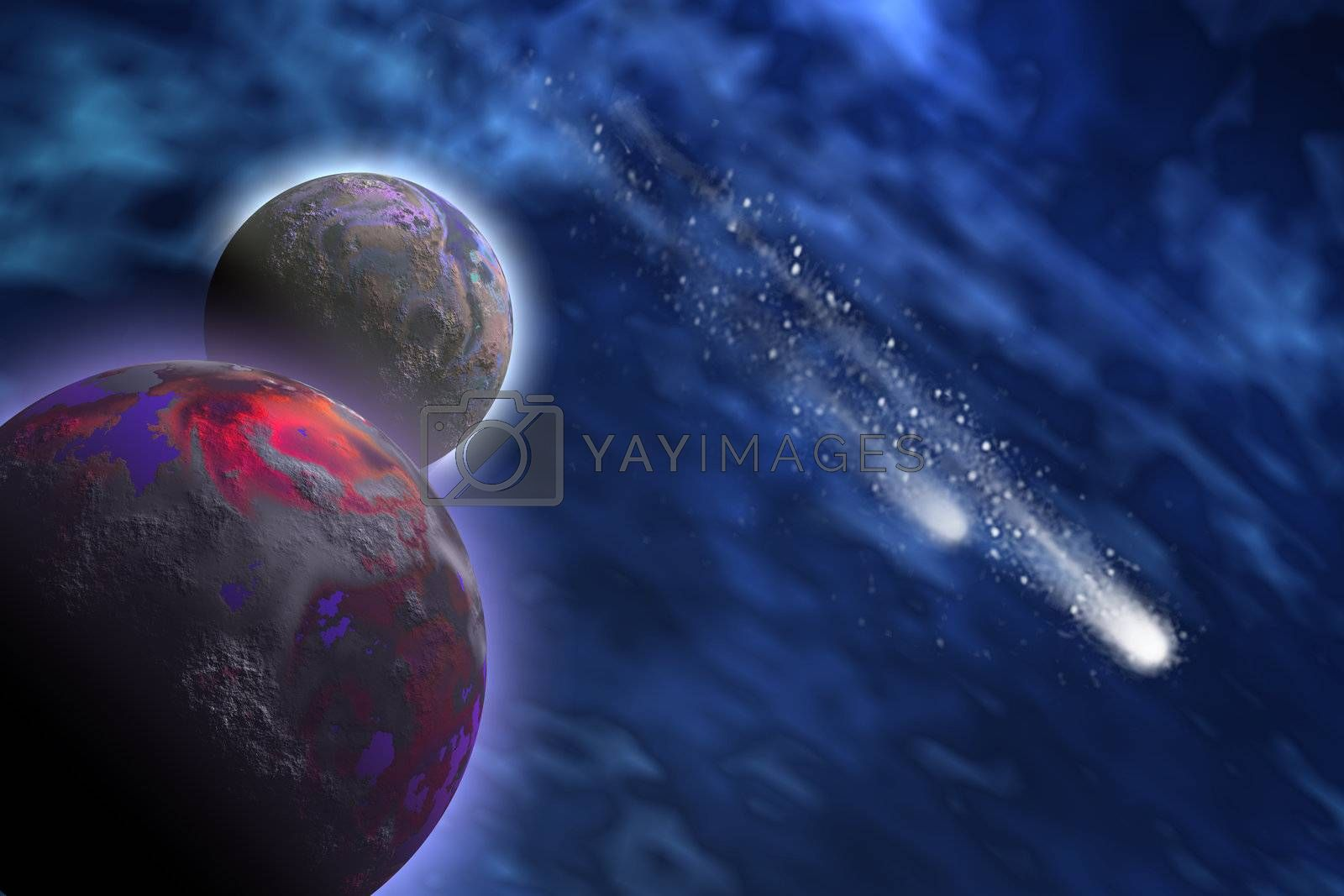 Two bright comets shoot past a planet and its moon.