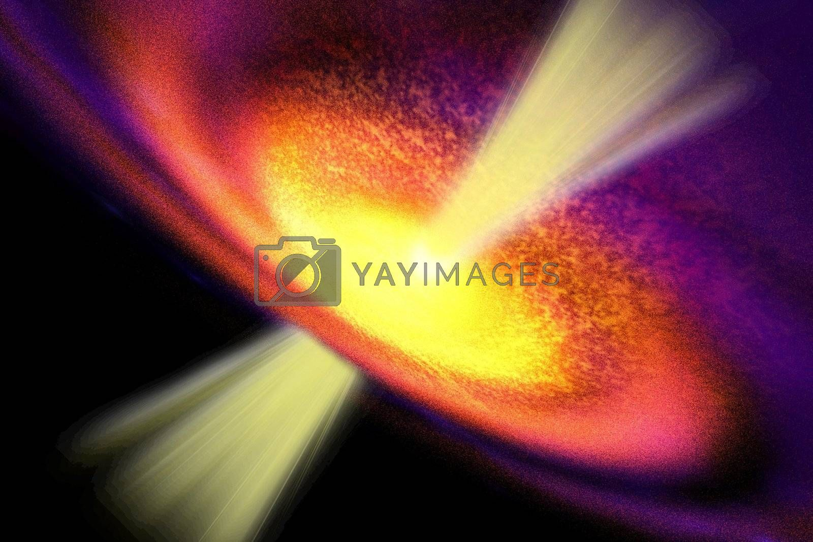 Powerful streams of energy spew out of a black hole in the middle of a galaxy.