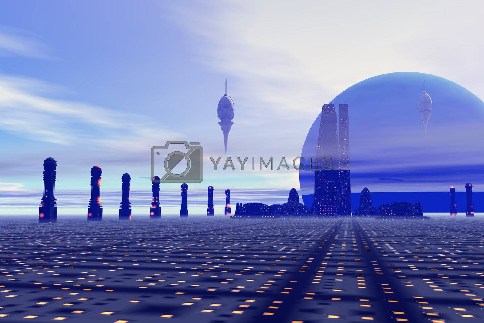 Futuristic city on a planet at the edge of the Milky Way.
