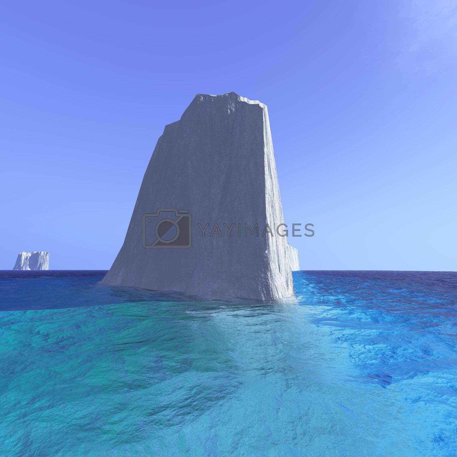 Icebergs roam the oceans of the world.