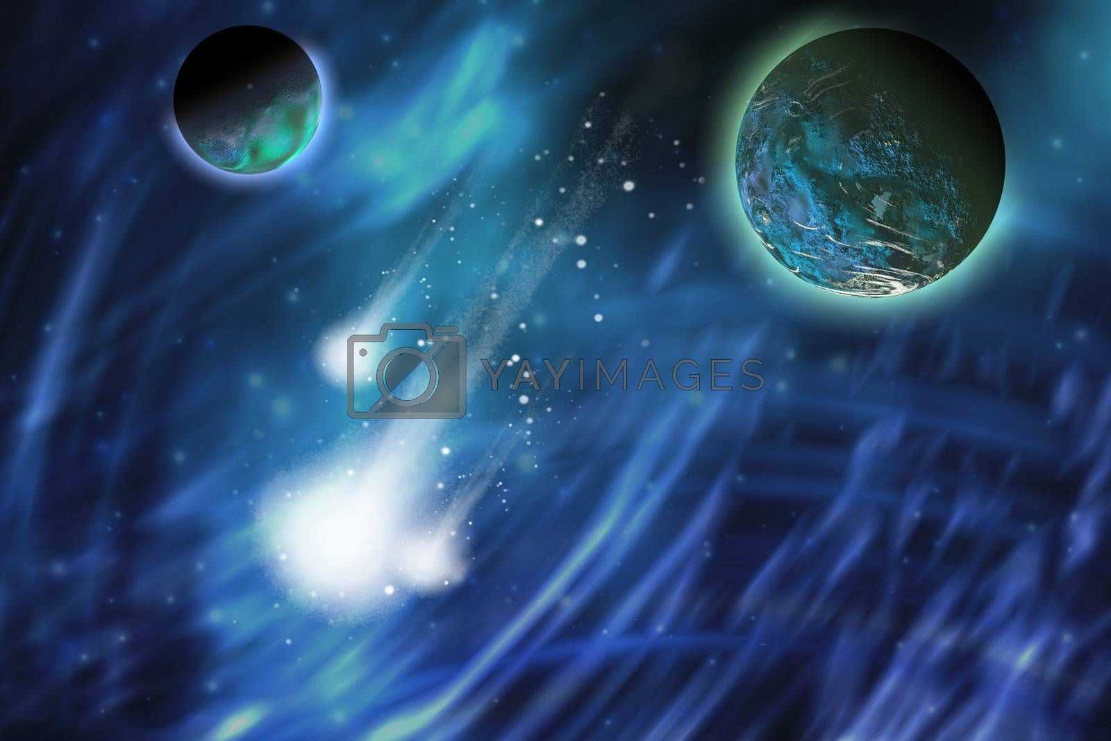 Three comets blaze a trail near a planet and its moon.