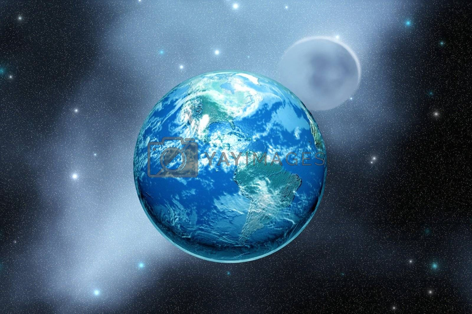 The Earth and its moon.