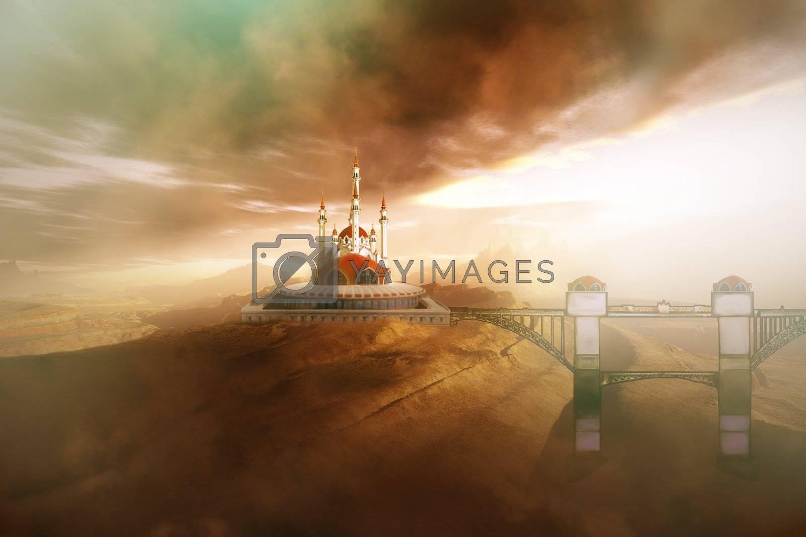 A fairytale castle with its bridge.
