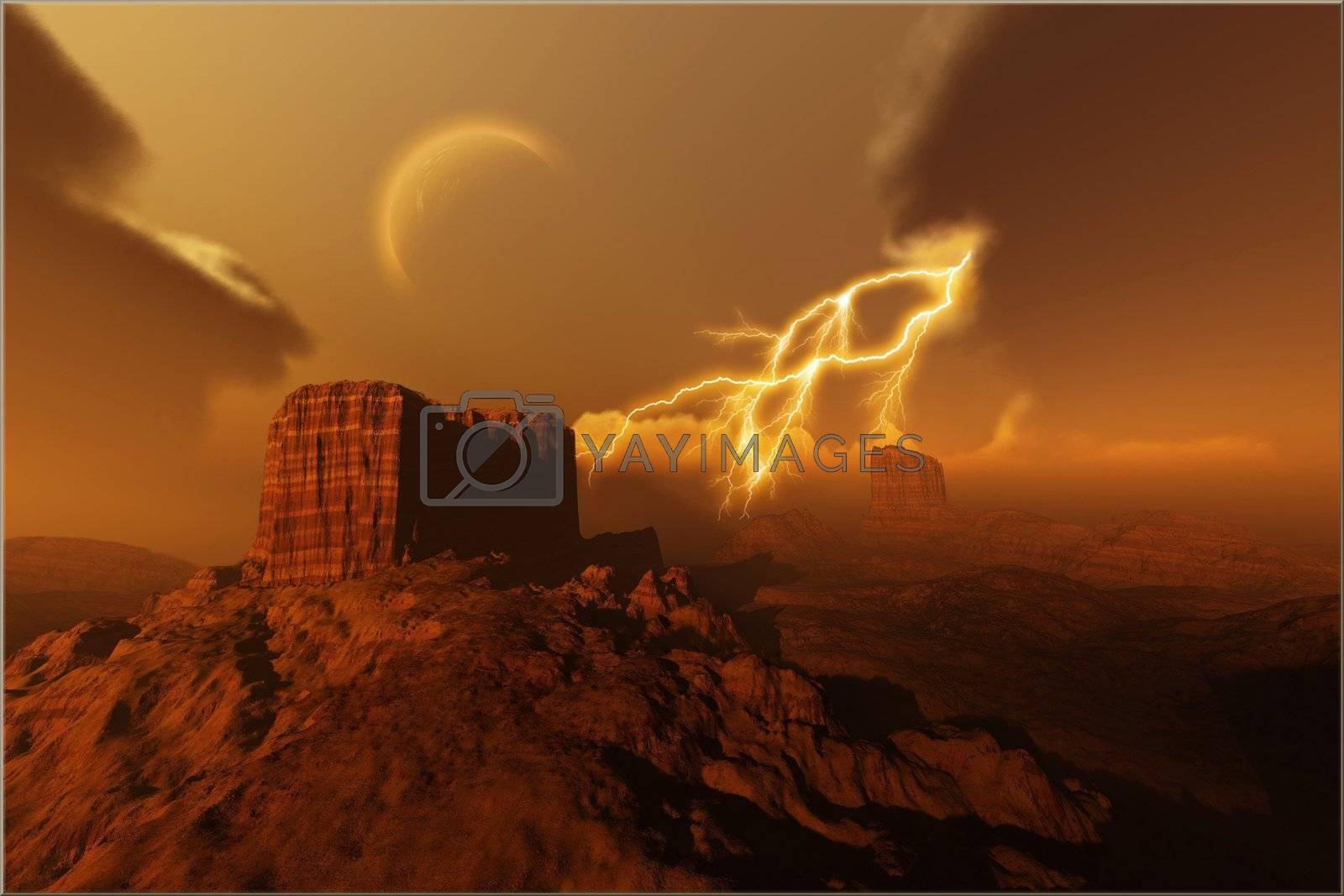 A lightning storm over a desert.