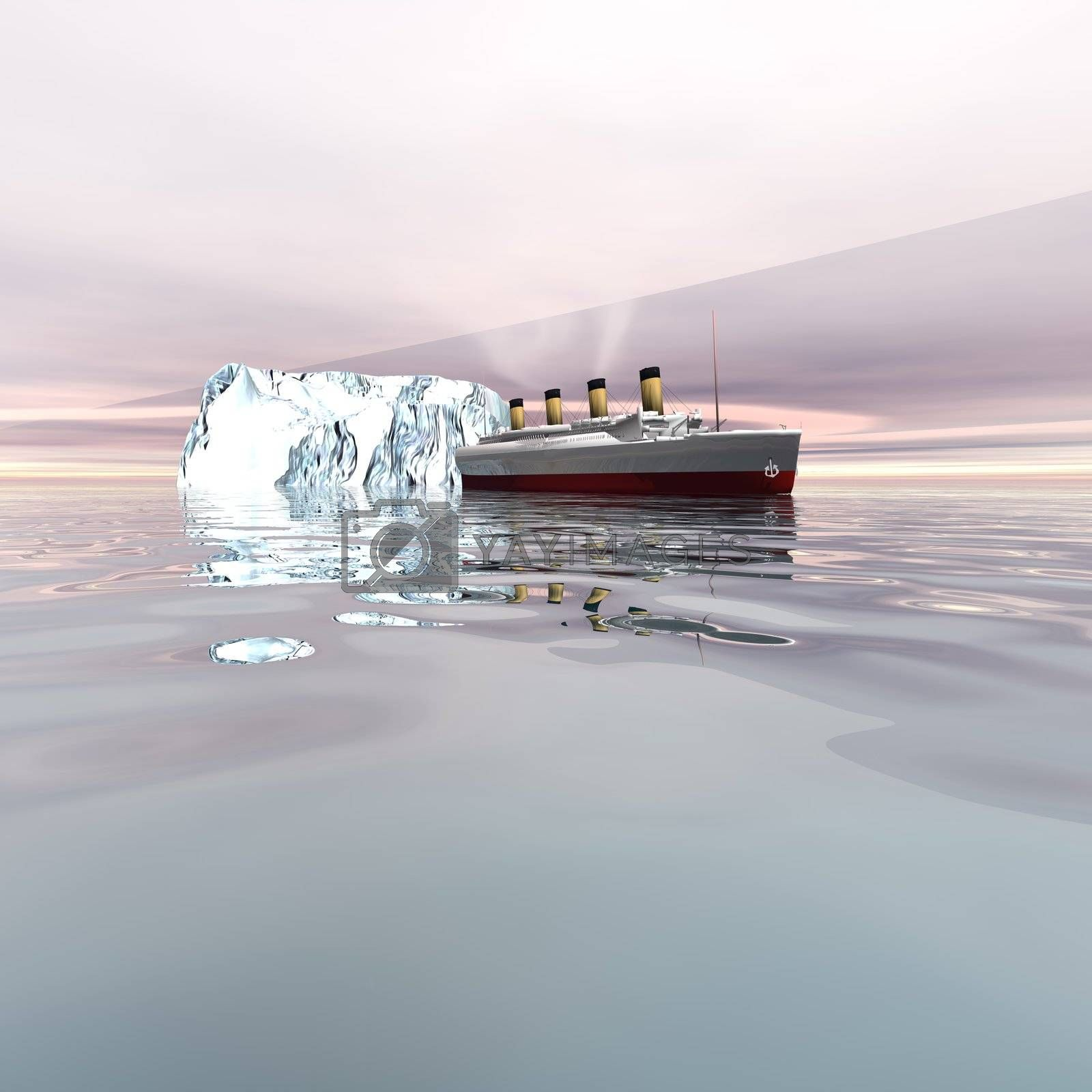 The beautiful ocean liner near icebergs in the north Atlantic ocean.