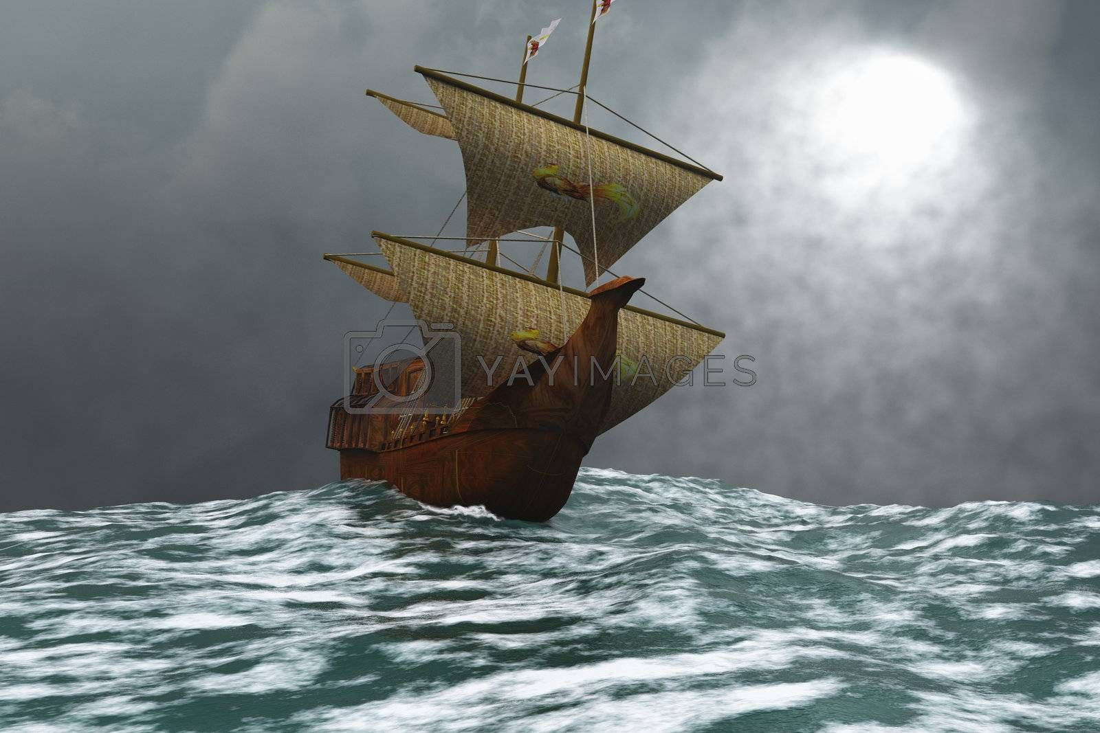 A sailing vessel navigates the ocean waves in stormy weather.