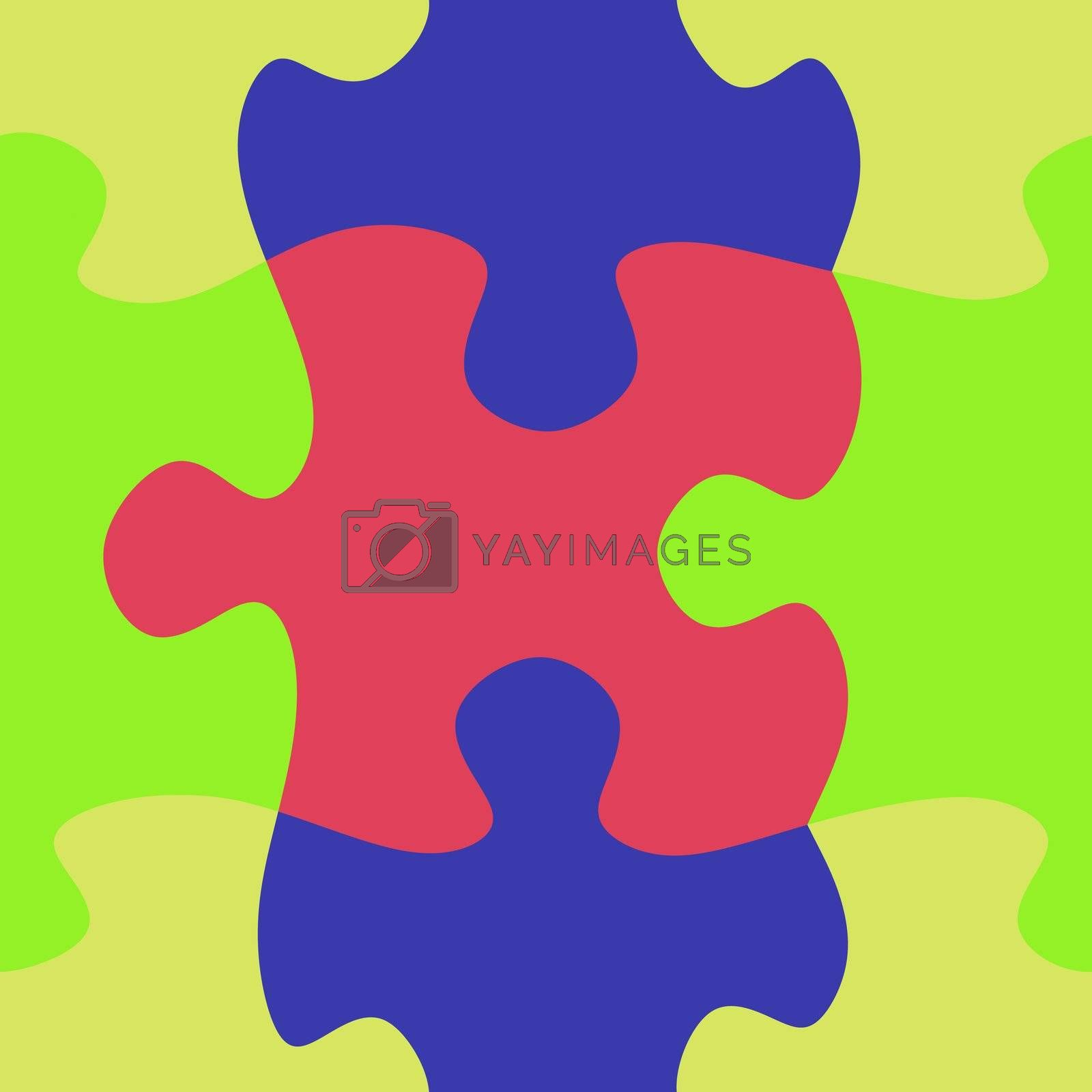seamless texture of large bright puzzle pieces