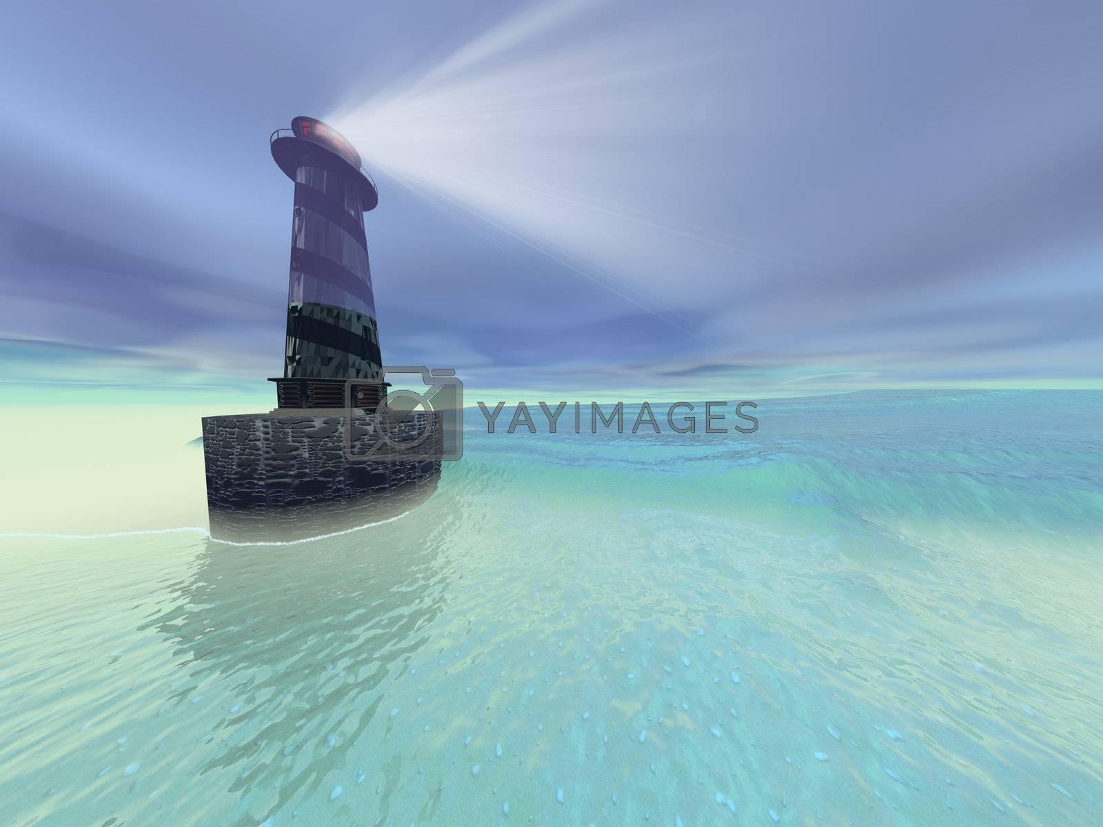 Low fog settles down on a lighthouse near the coast.