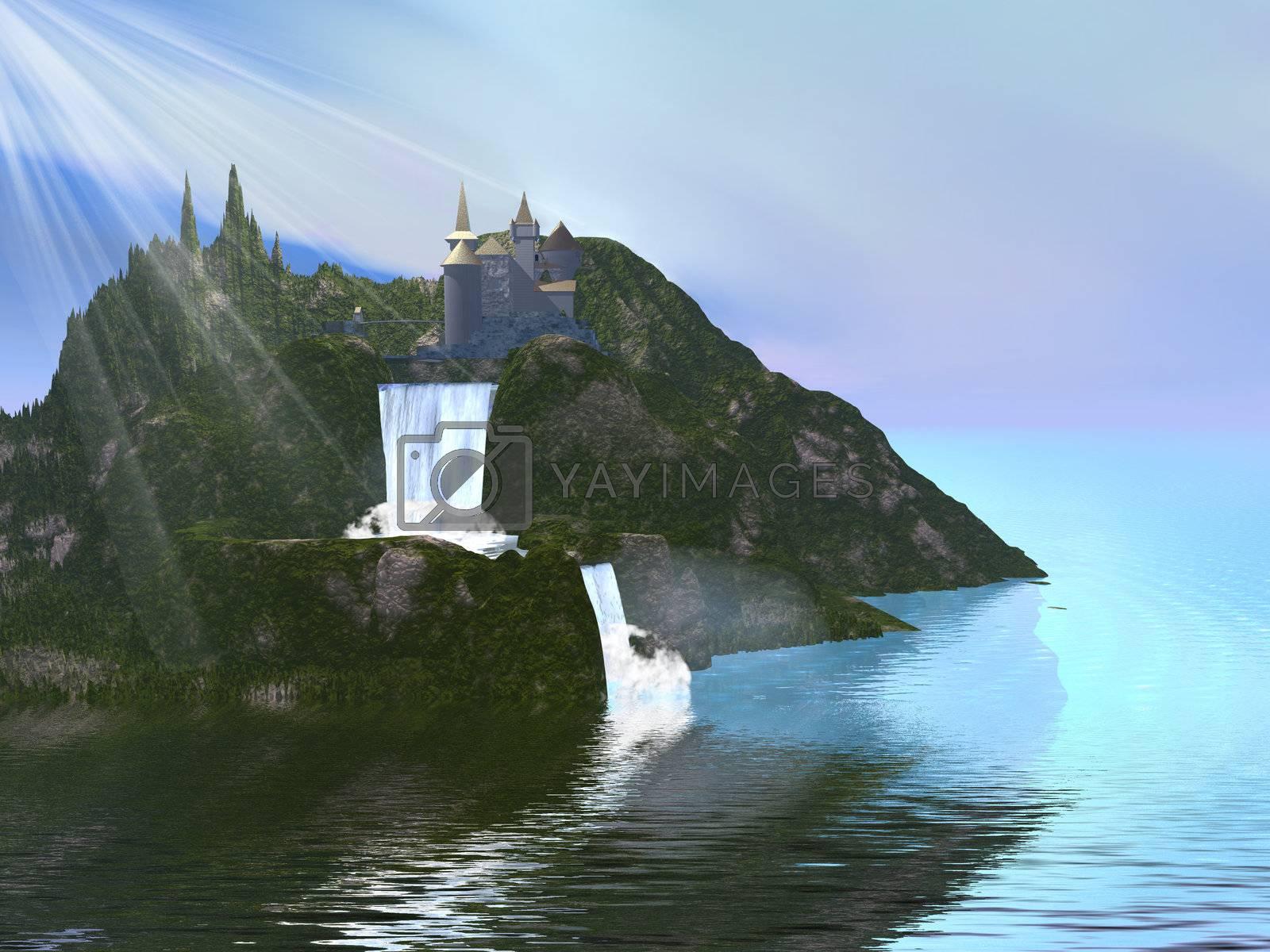 A fairytale castle sits among beautiful waterfalls.