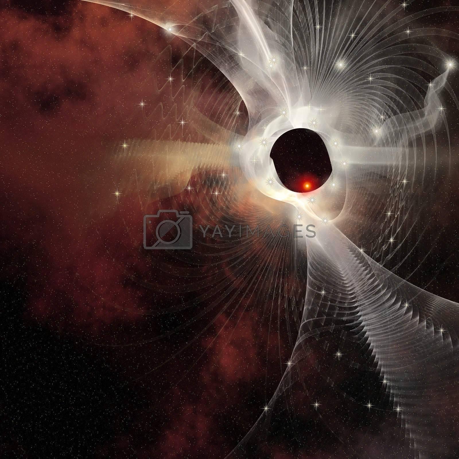 A nebula forms gossamer cobweb like strands in the cosmos.