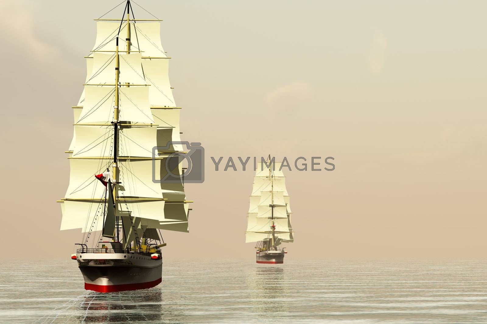 Two clipper ships sail on calm ocean waters.