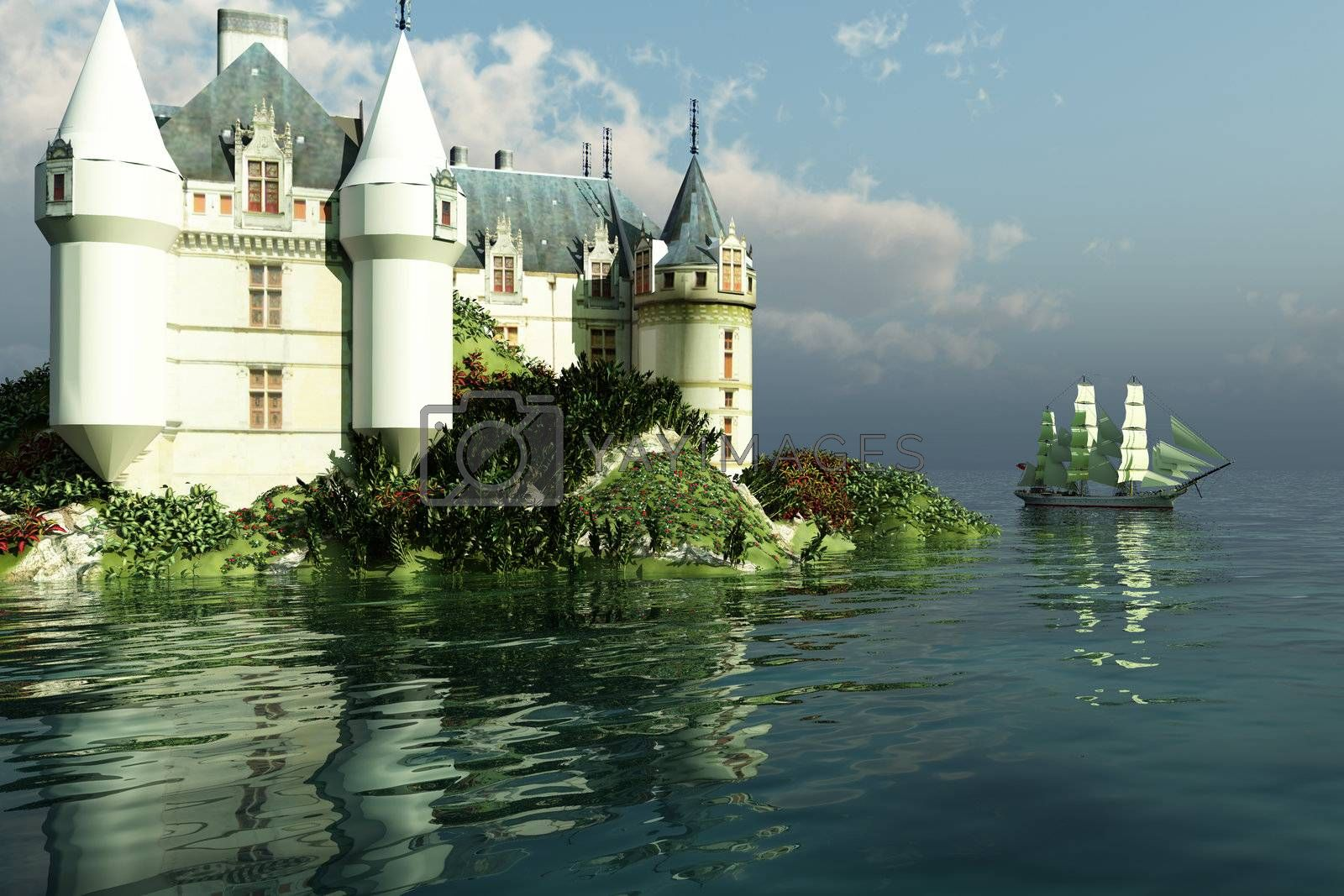 A clipper ship sails past a grand castle.