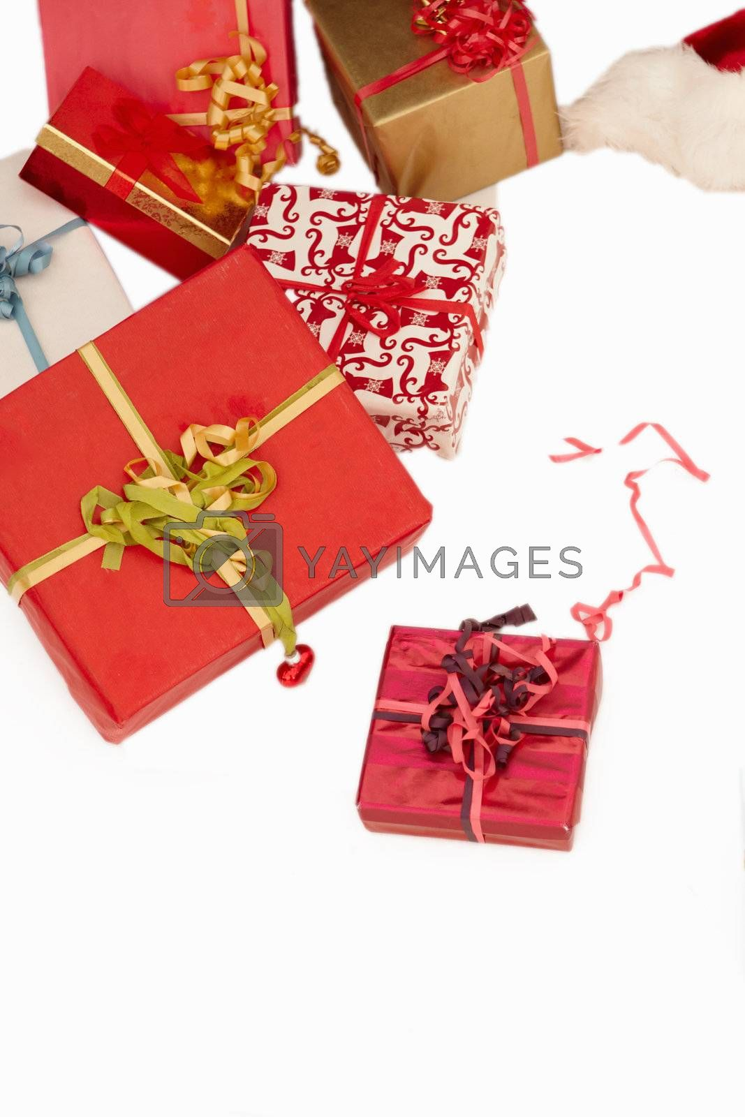 Royalty free image of Christmas presents - On white background by FreedomImage