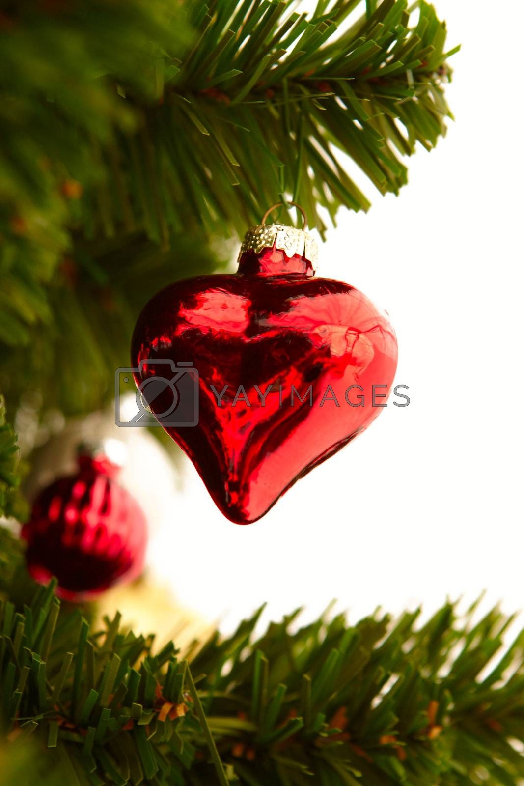 Royalty free image of Christmas - Red heart decoration on white by FreedomImage