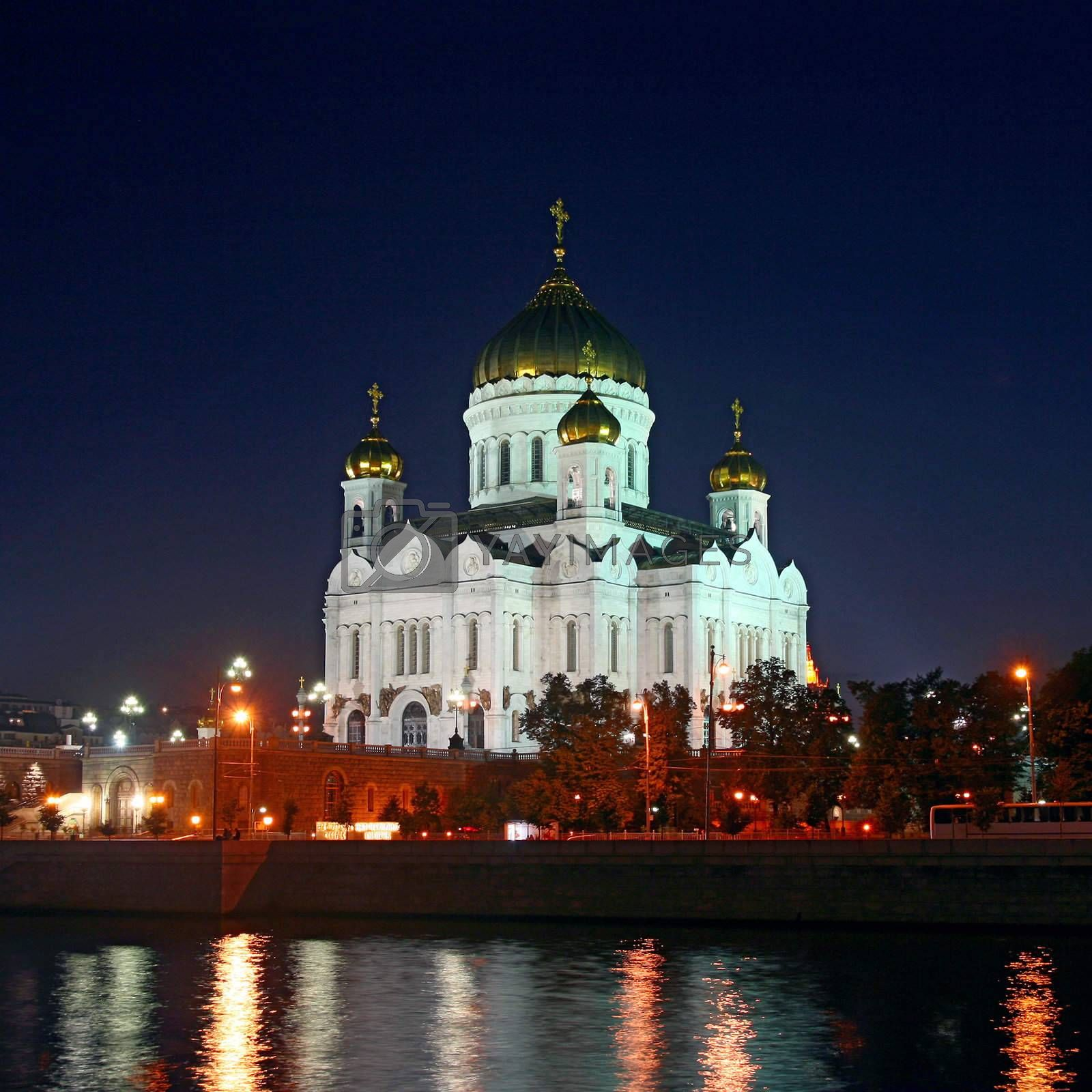Cathedral of Christ the Savior. River. Gold domes.