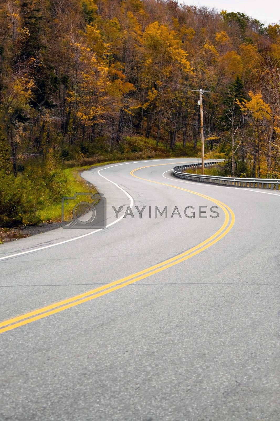 A curved New England road during the fall with bright foliage.