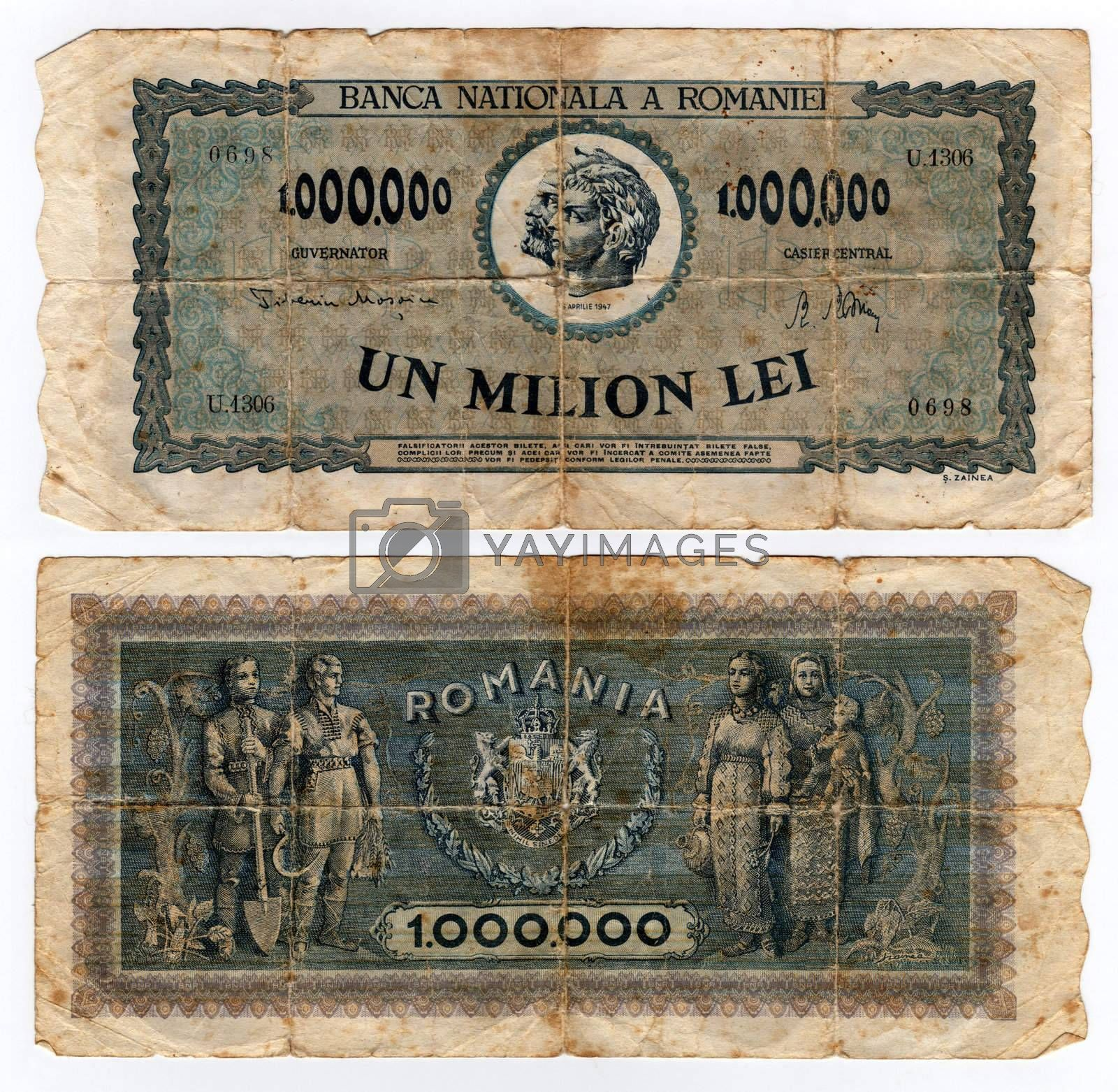 high resolution vintage romanian banknote from 1947