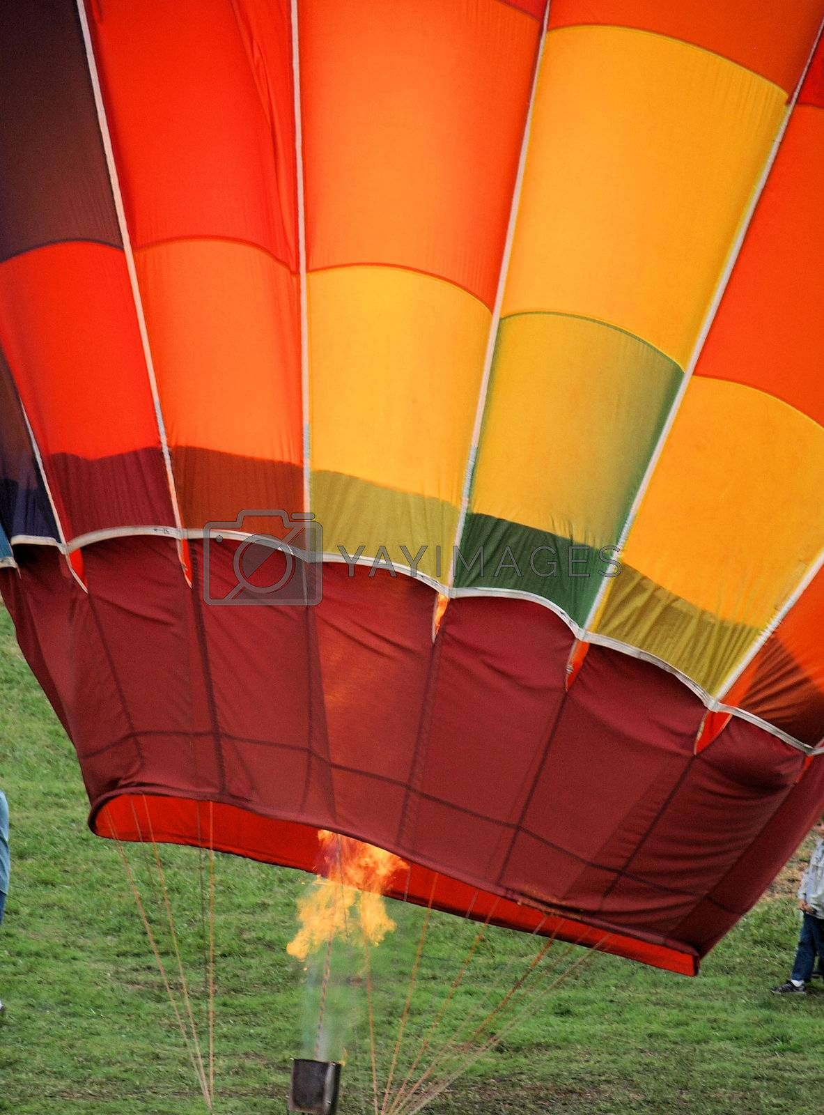 Hot air balloon festival in rural North Carolina.Heating up the balloon