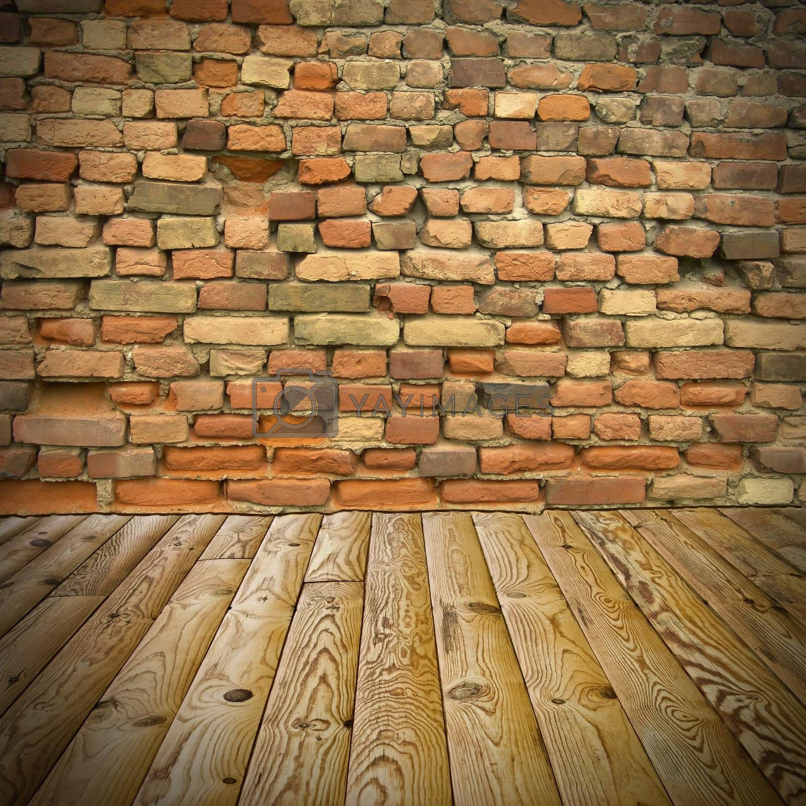 The abstract background, pine floor and brick wall