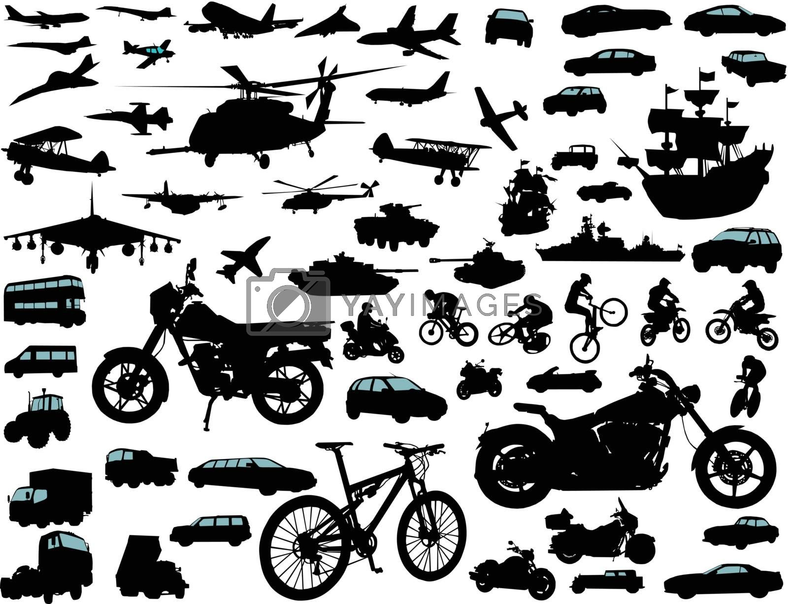 Set of transportation silhouettes: cars, planes, bikes, ships