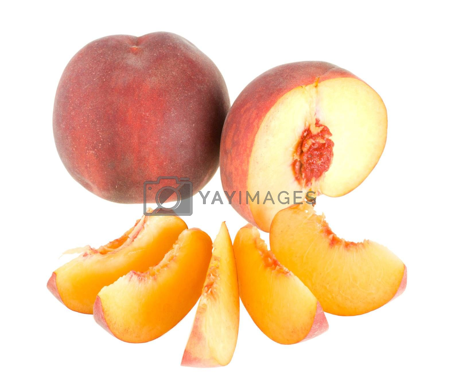 peaches with slices by Alekcey