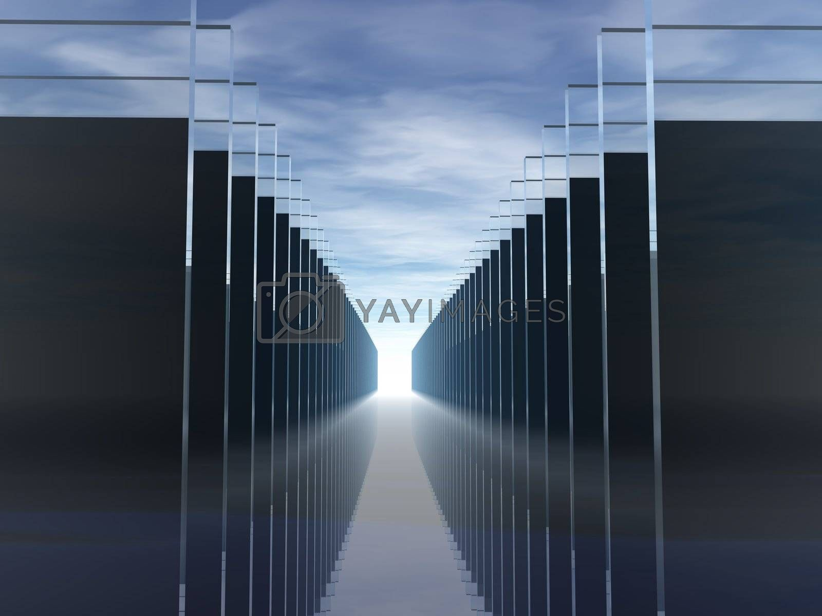 abstract background - windowpanes in a row under blue sky - 3d illustration