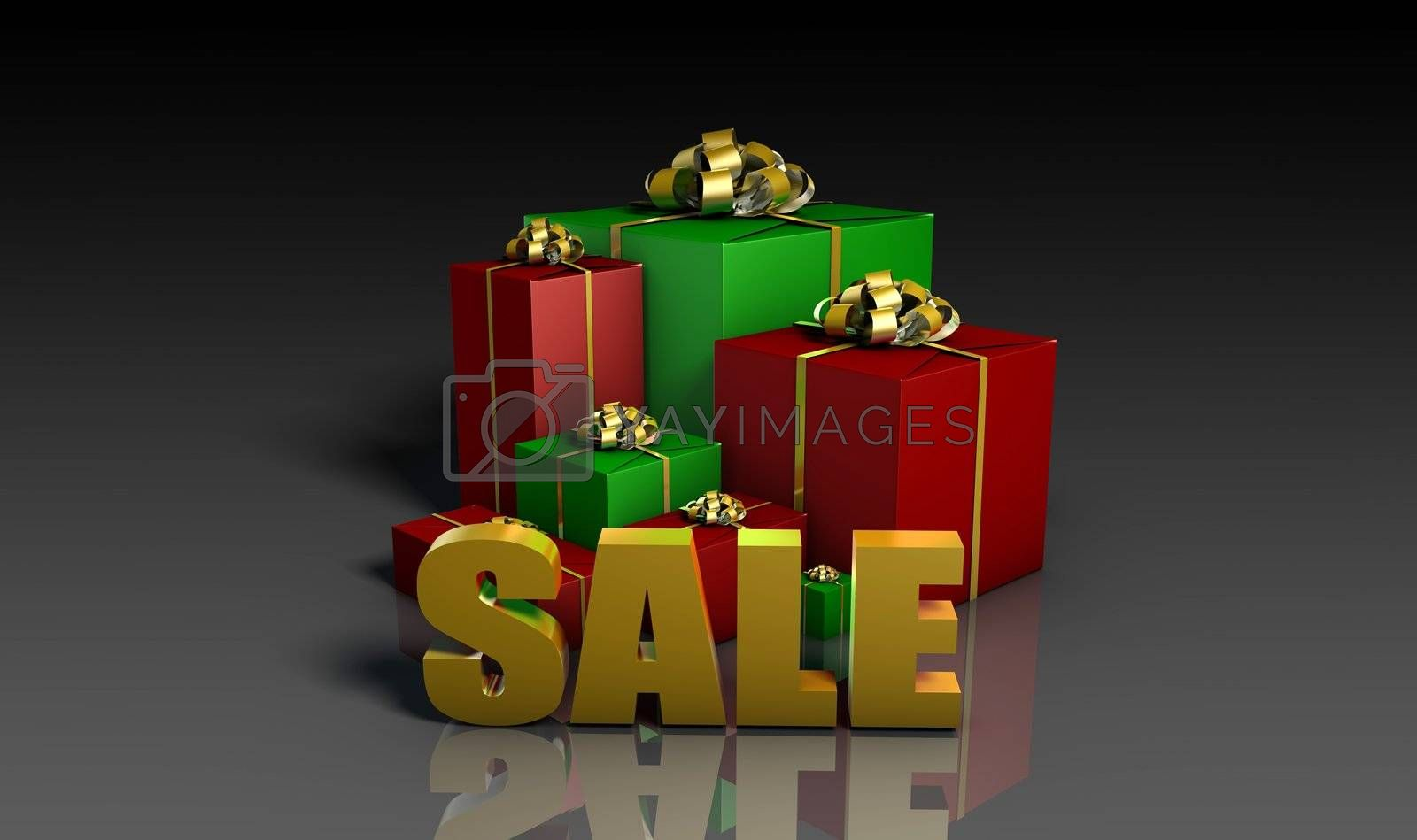 Christmas Sales Shopping Sign Red Green in 3d
