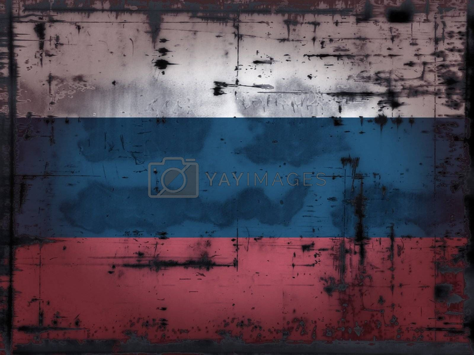 grunge background - Russia flag - illustration
