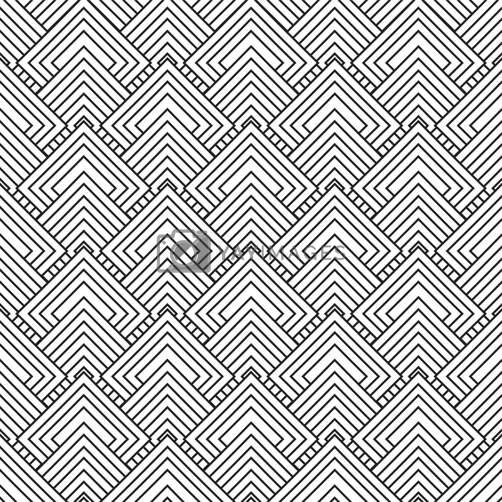 Black and white square seamless repeat design with overlap pattern