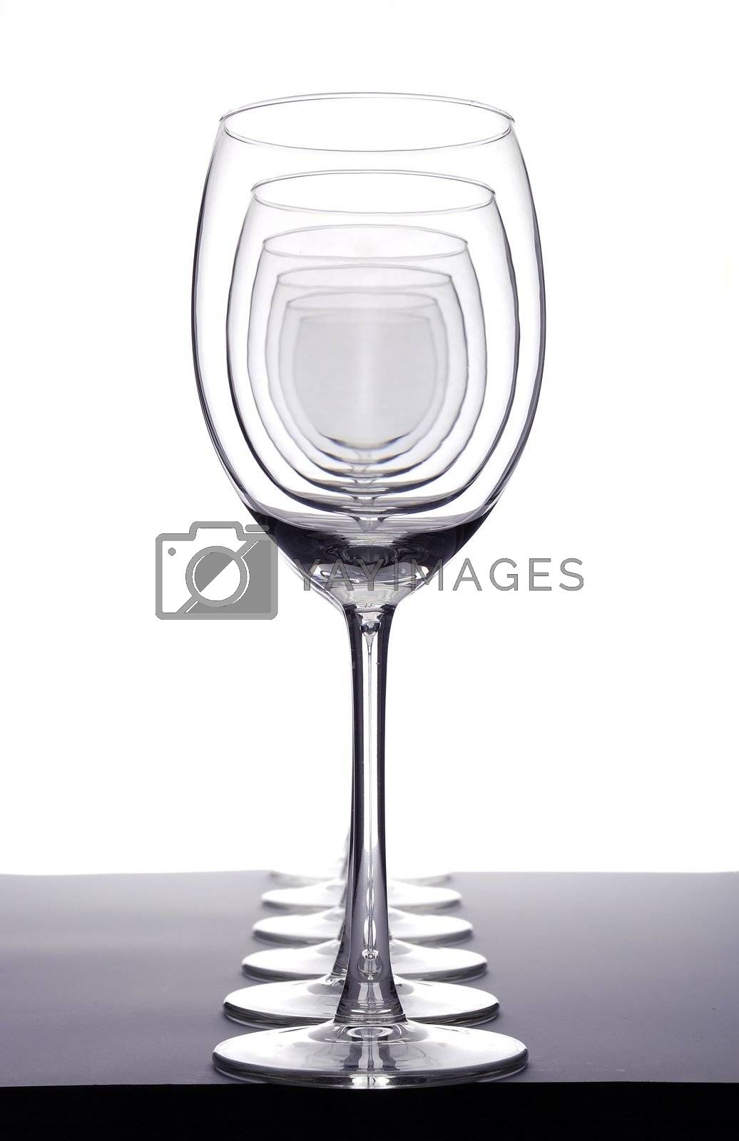 row of empty wineglasses