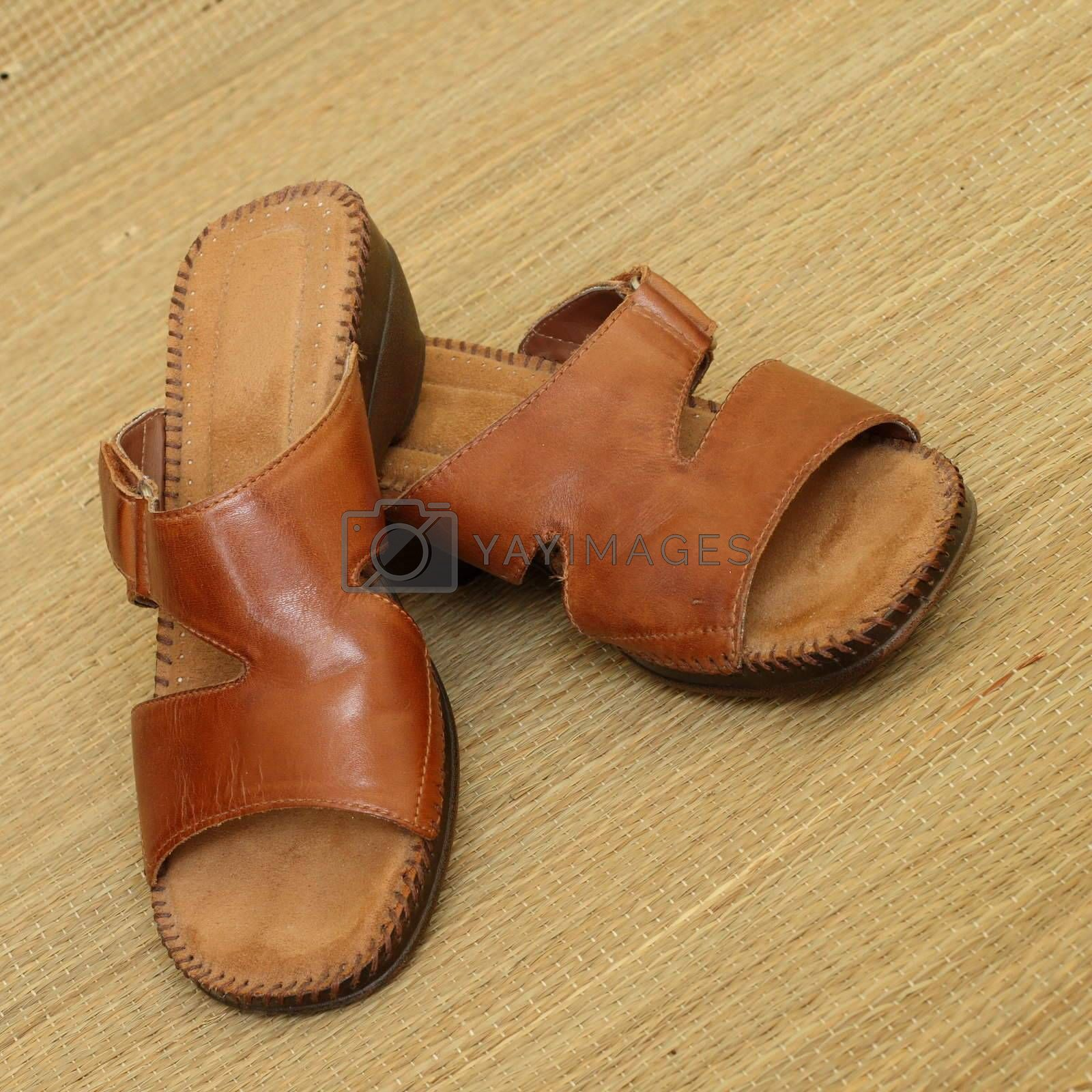 brown leather sandals by teekaygee