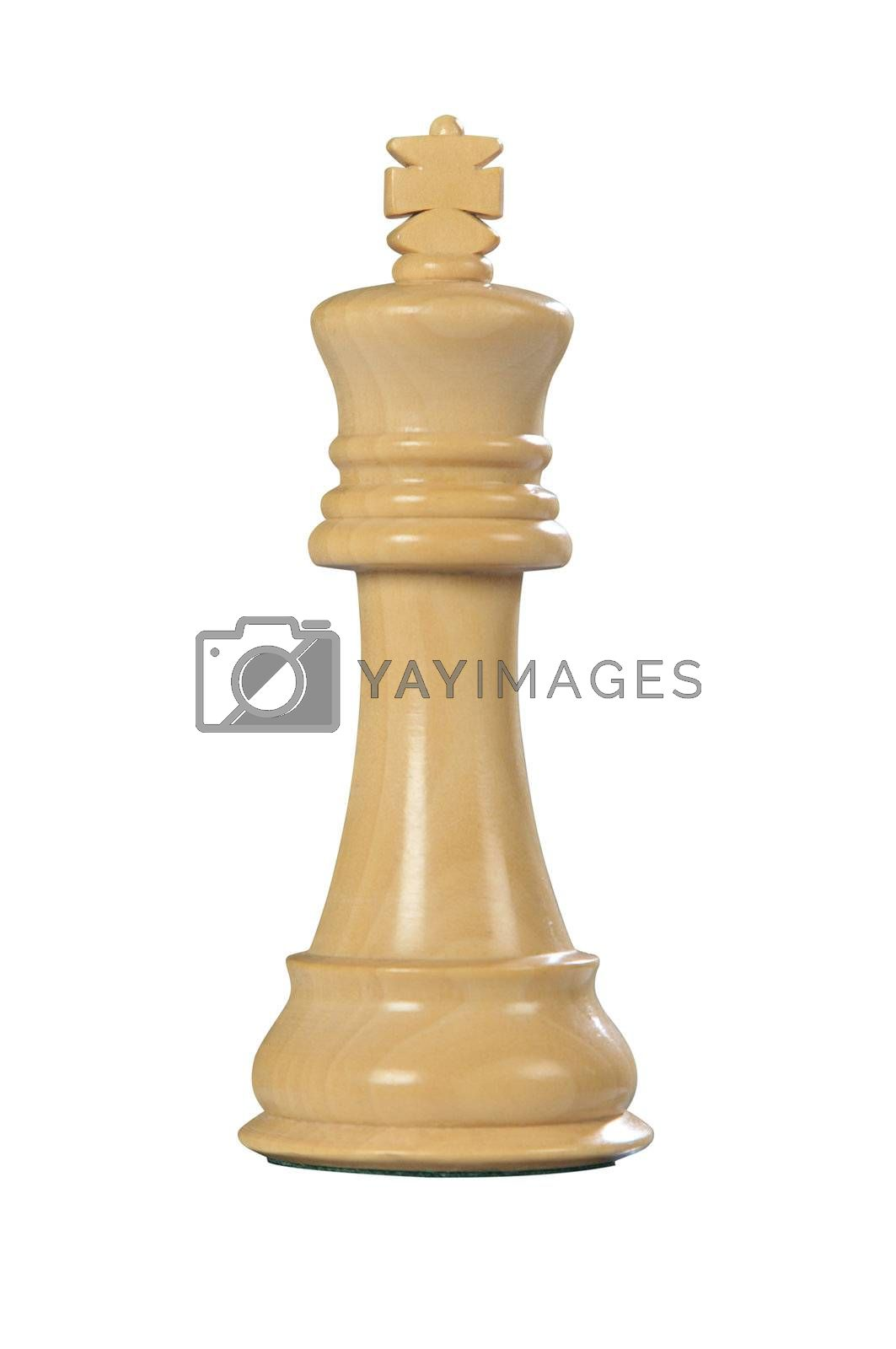 White wooden king - one of 12 different chess pieces