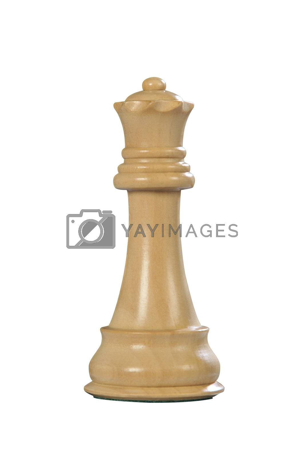 White wooden queen - one of 12 different chess piece