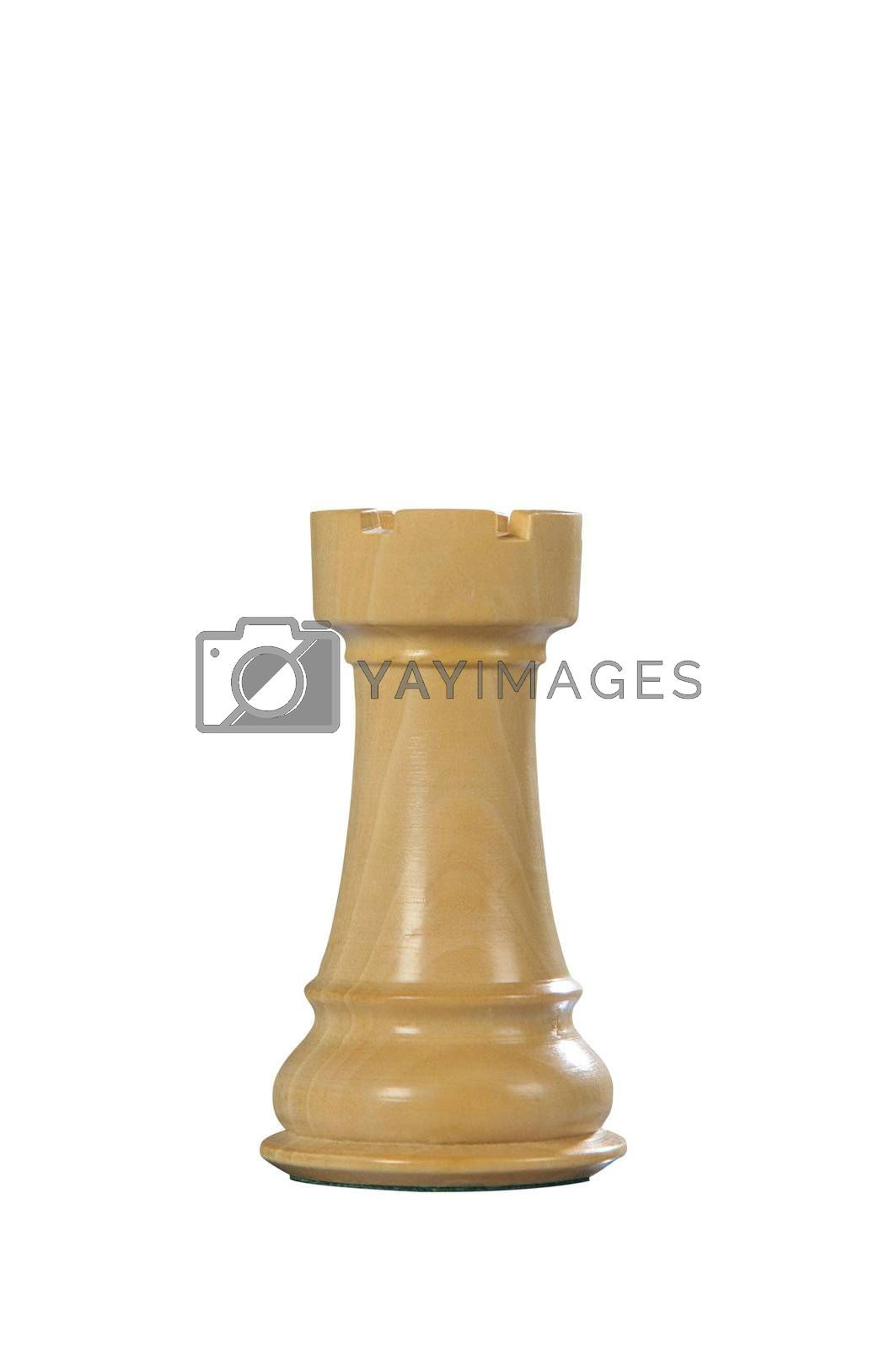 White wooden tower - one of 12 different chess pieces.