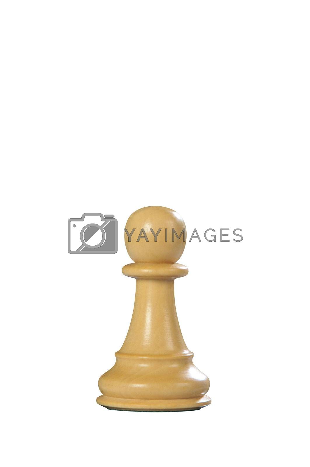 White wooden pawn queen - one of 12 different chess pieces.