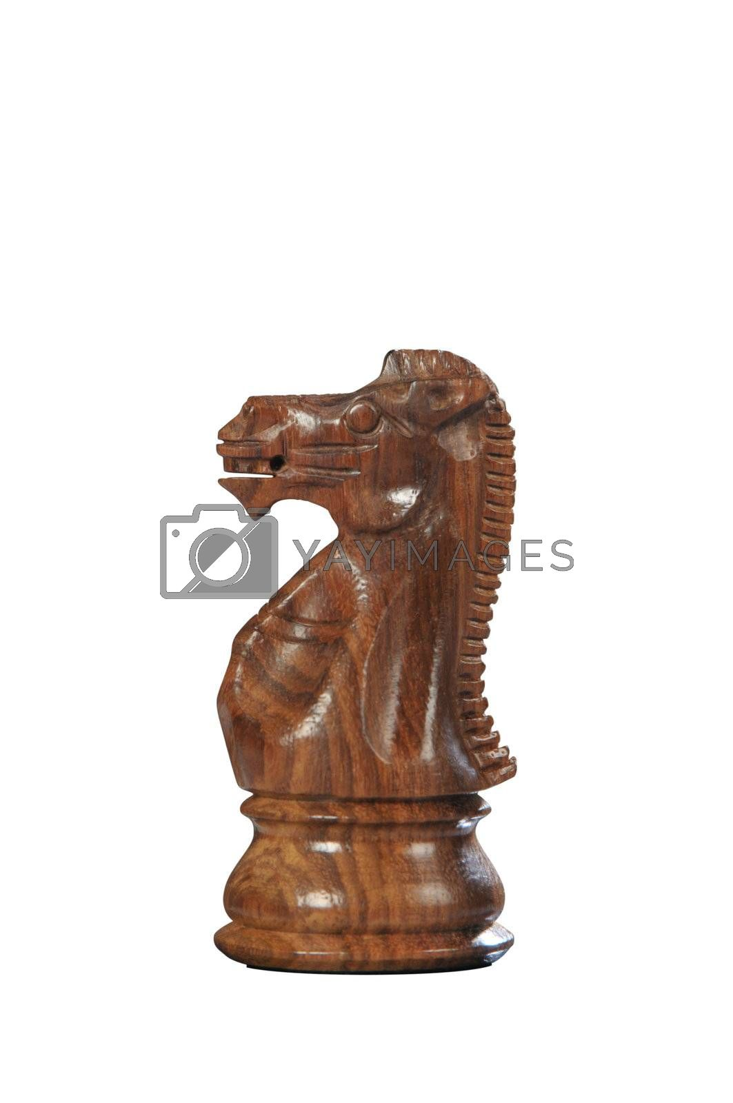 Black (brown) wooden horse - one of 12 different chess piece
