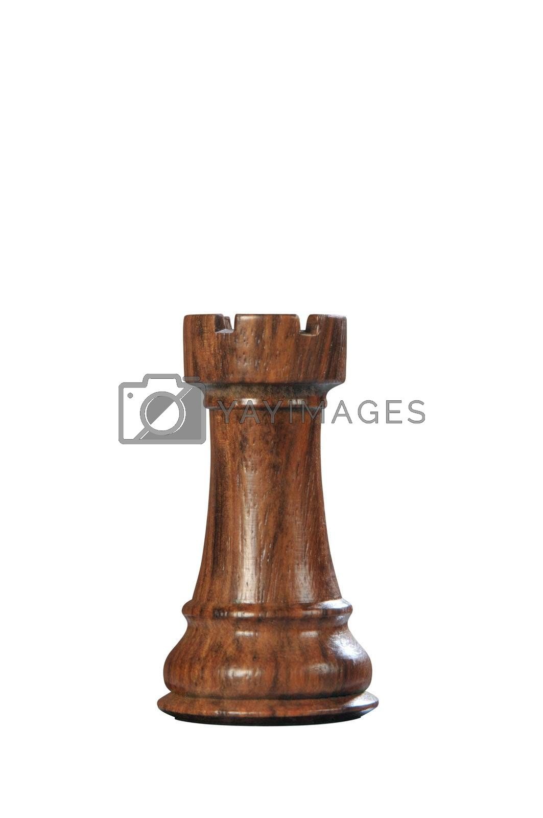 Black (Brown) wooden tower - one of 12 different chess pieces.