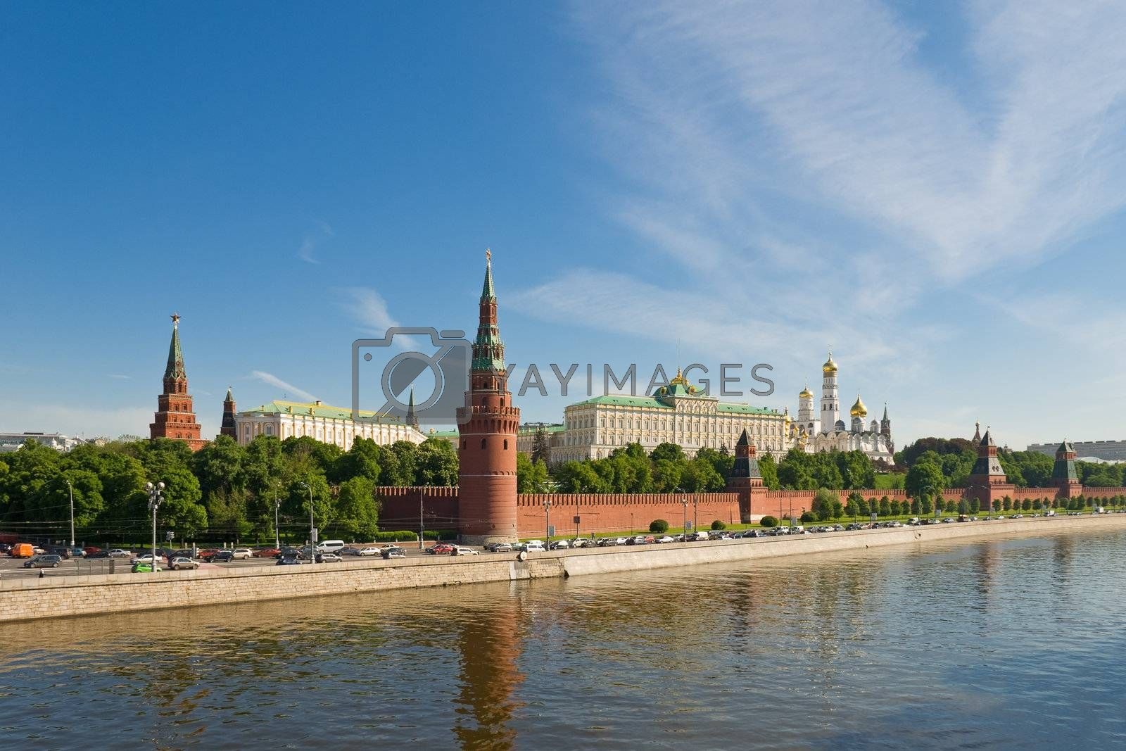 Russian Moscow Kremlin near the Moskva River