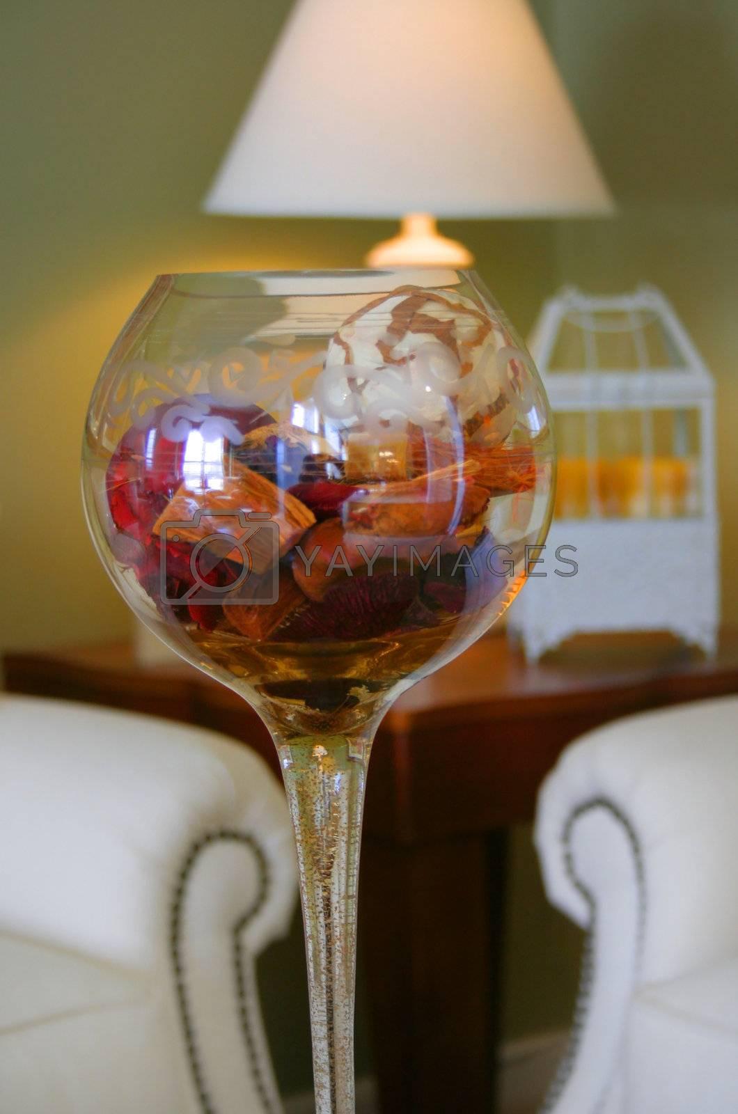 Close up shot of goblet filled with fragnance petals