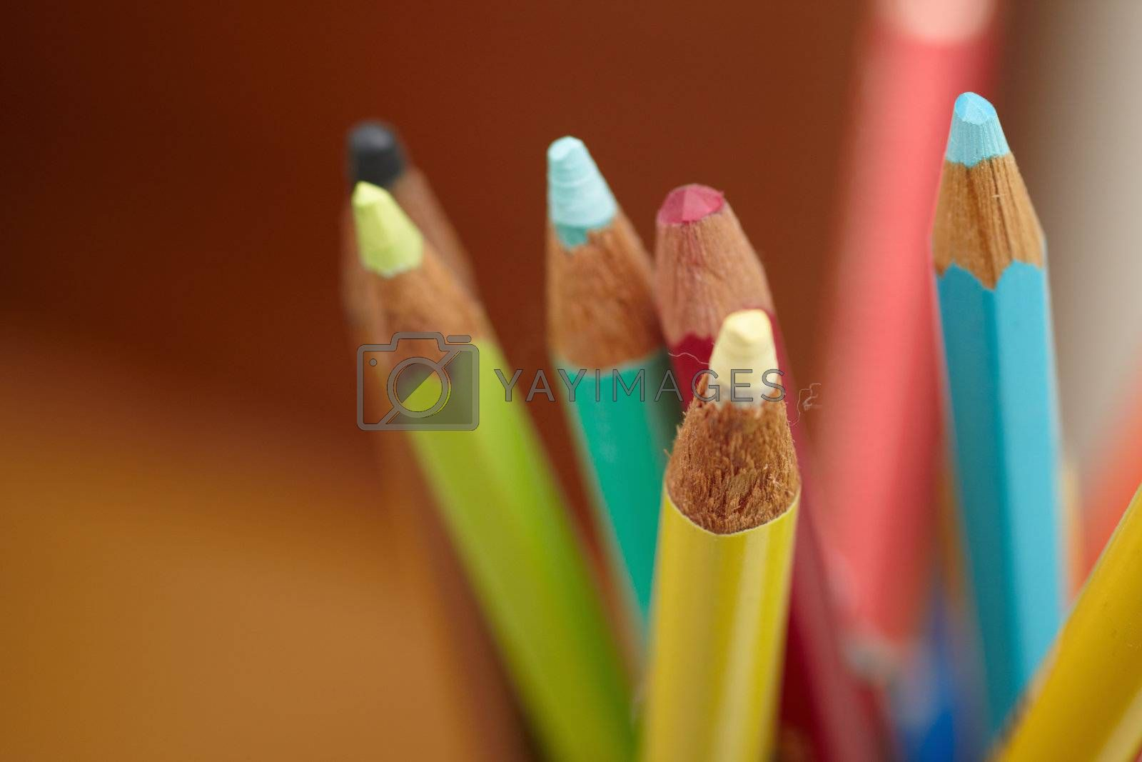 Royalty free image of Students accessories - Colouring pencils with space to copy by FreedomImage