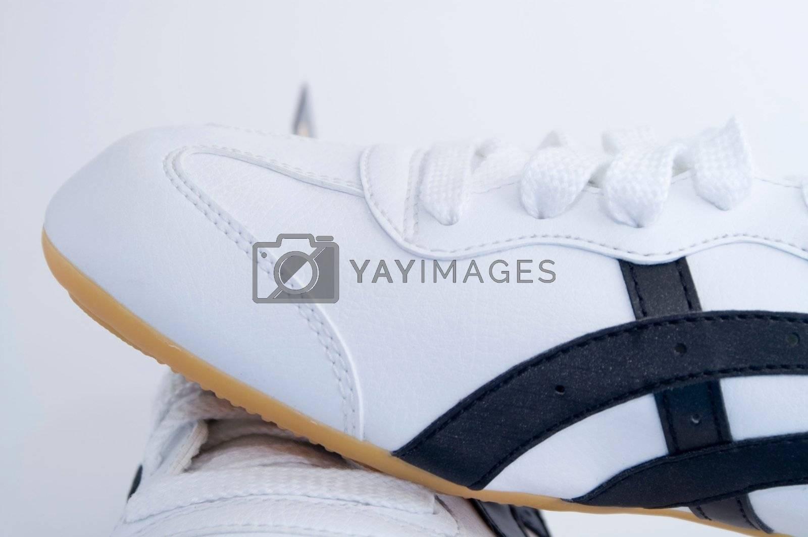 White gym shoes on white background by olgaolga