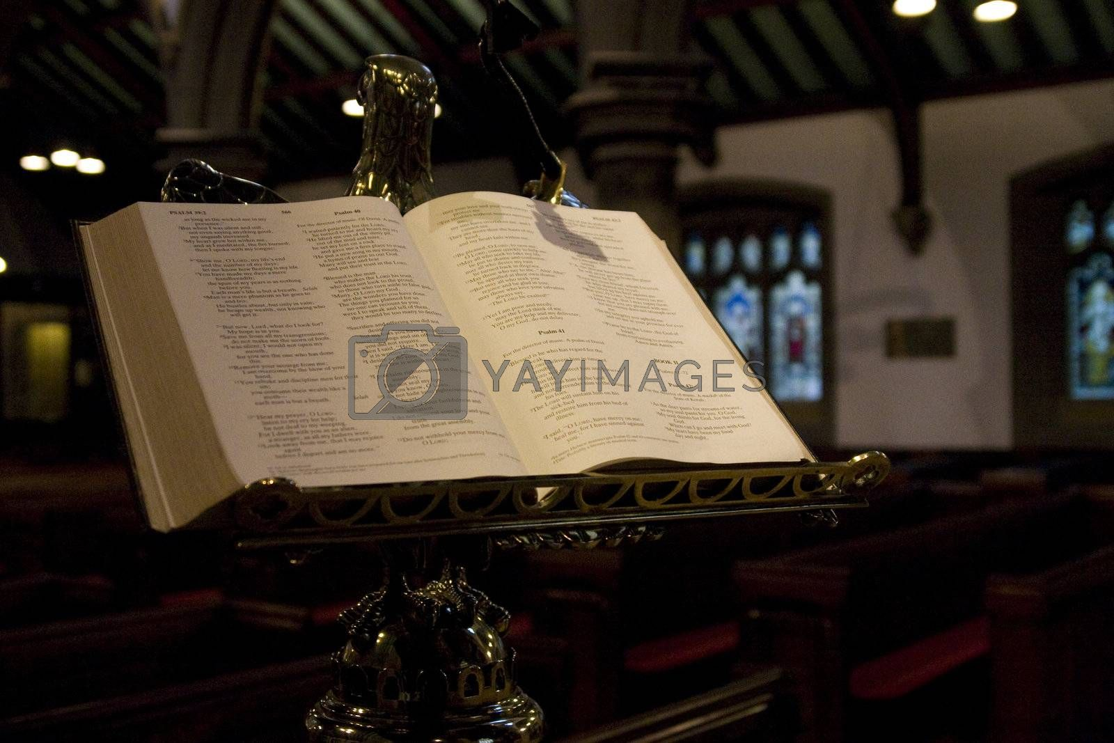 Open bible in an old church of Haworth (home of the Bronte sisters)