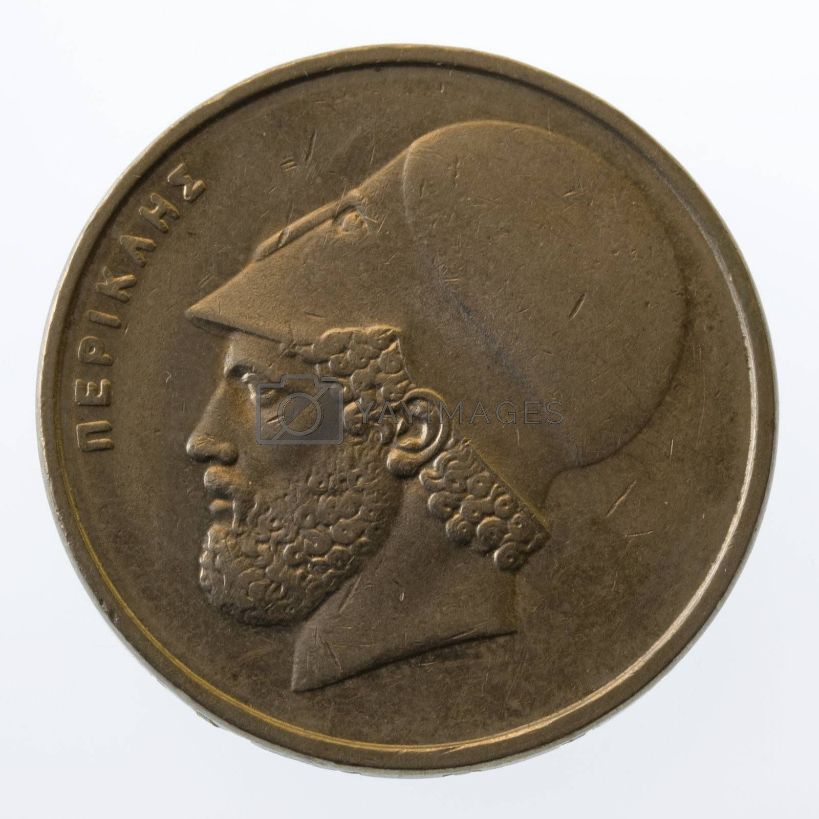 Pericles, ancient Greek leader and statesman, on 20 drachmas coin (1984), isolated on white