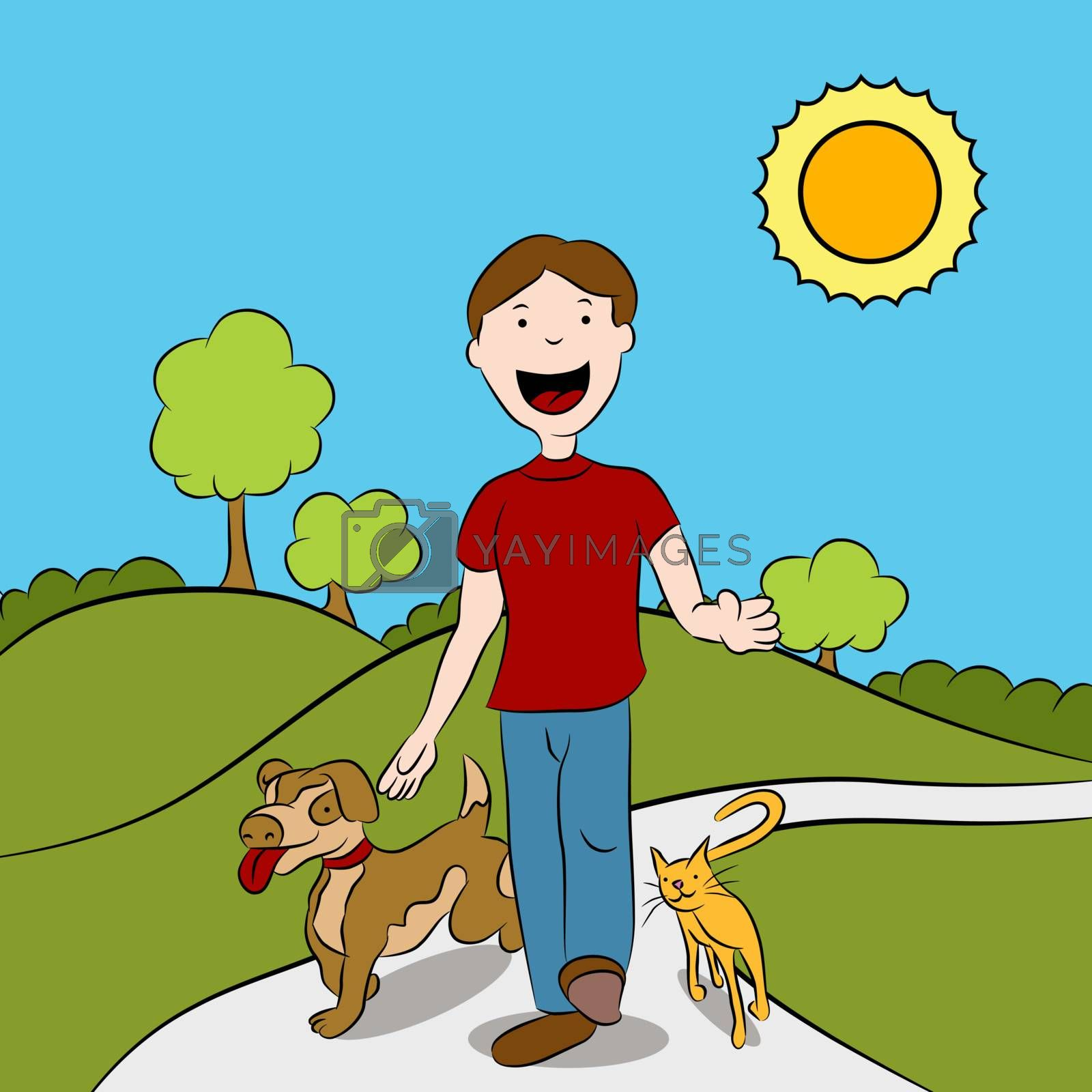Man walking with his cat and dog in the park.