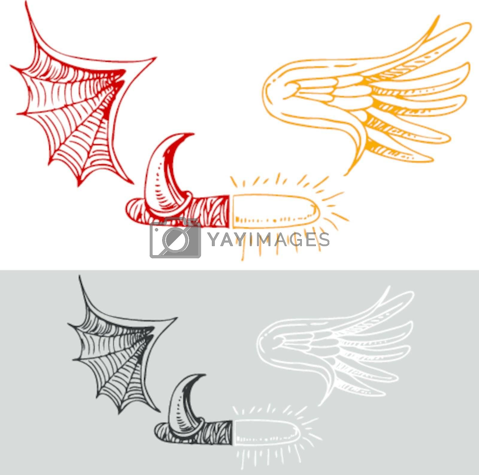 An image of a half angel and devil drawing.
