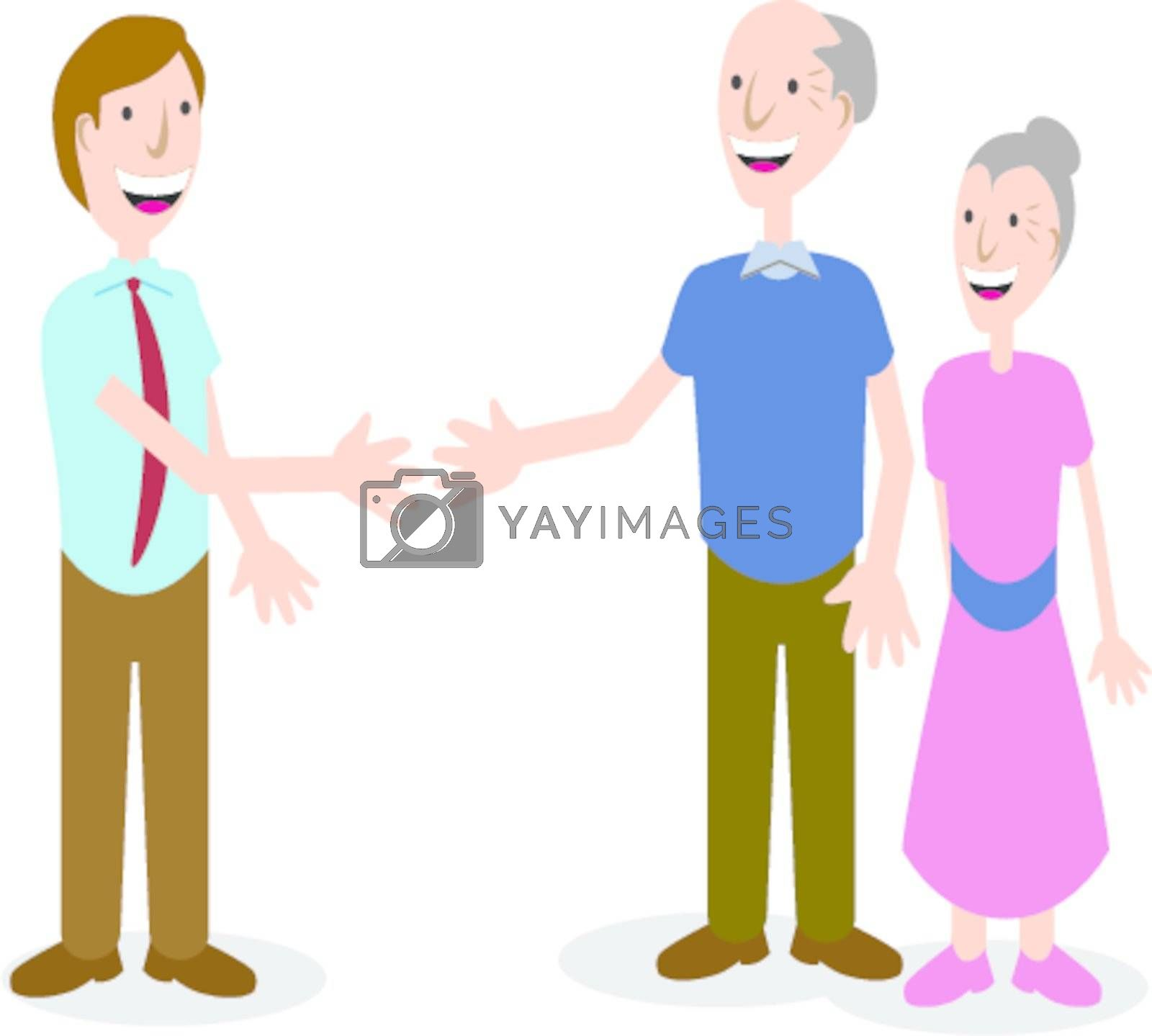 An image of a businessman greeting a senior couple.